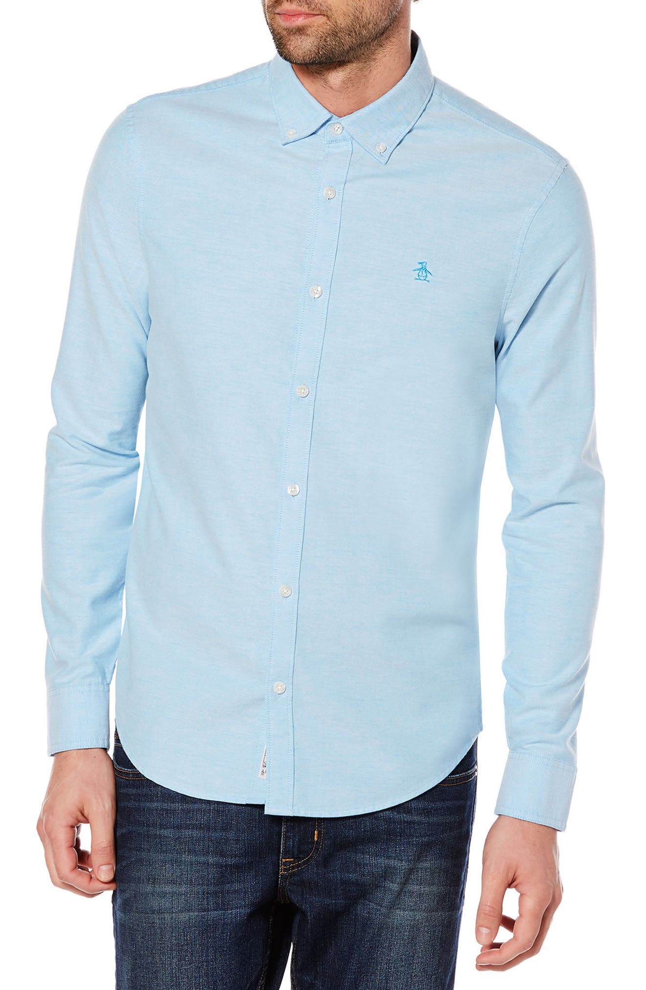 Heritage Slim Fit Oxford Shirt, Main, color, 418
