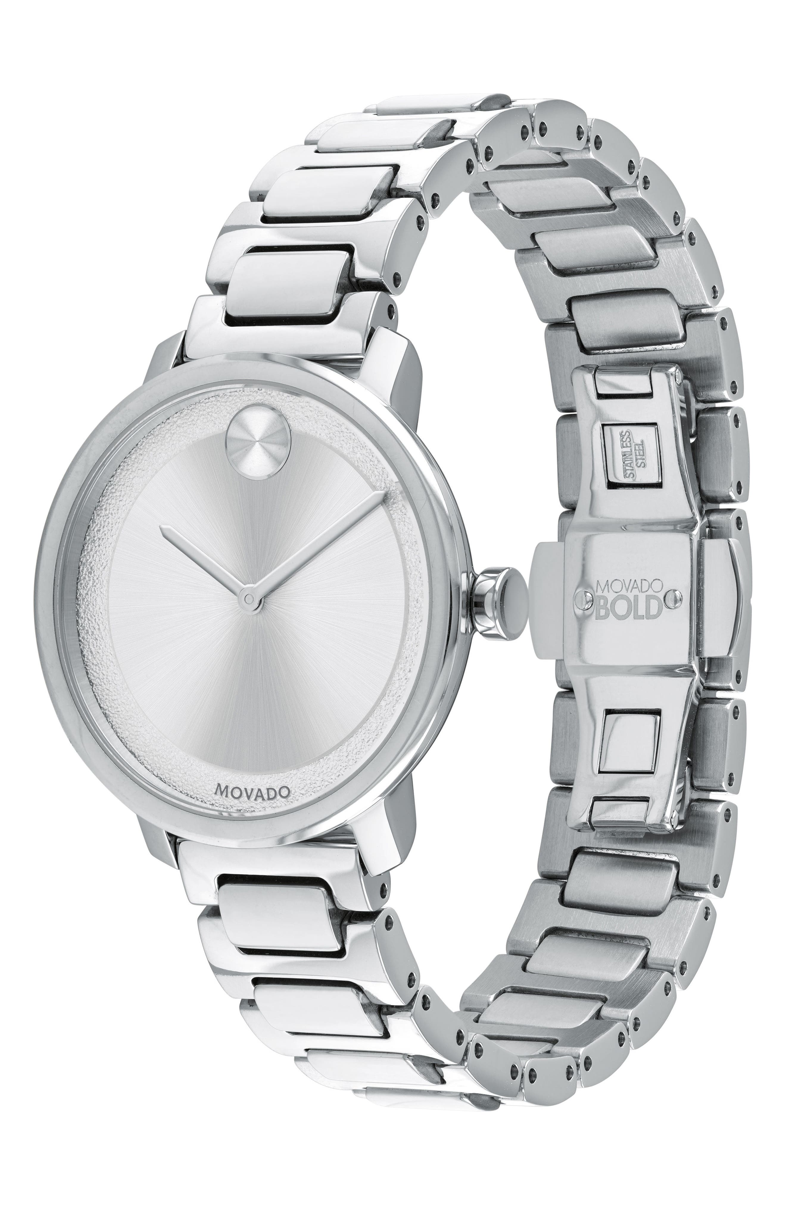 Bold Bracelet Watch, 34mm,                             Alternate thumbnail 3, color,                             SILVER