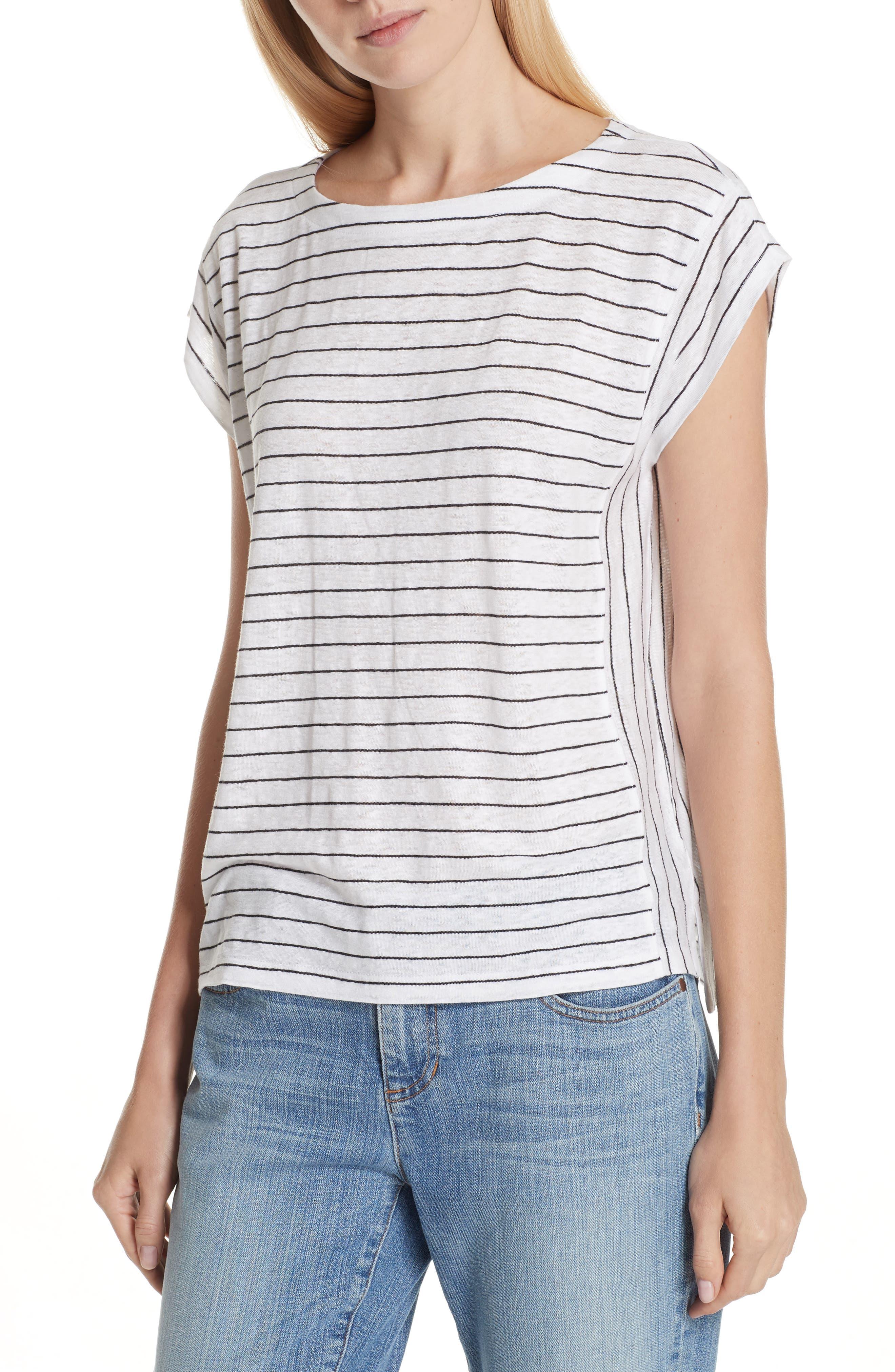 Stripe Organic Linen Top,                         Main,                         color, 120