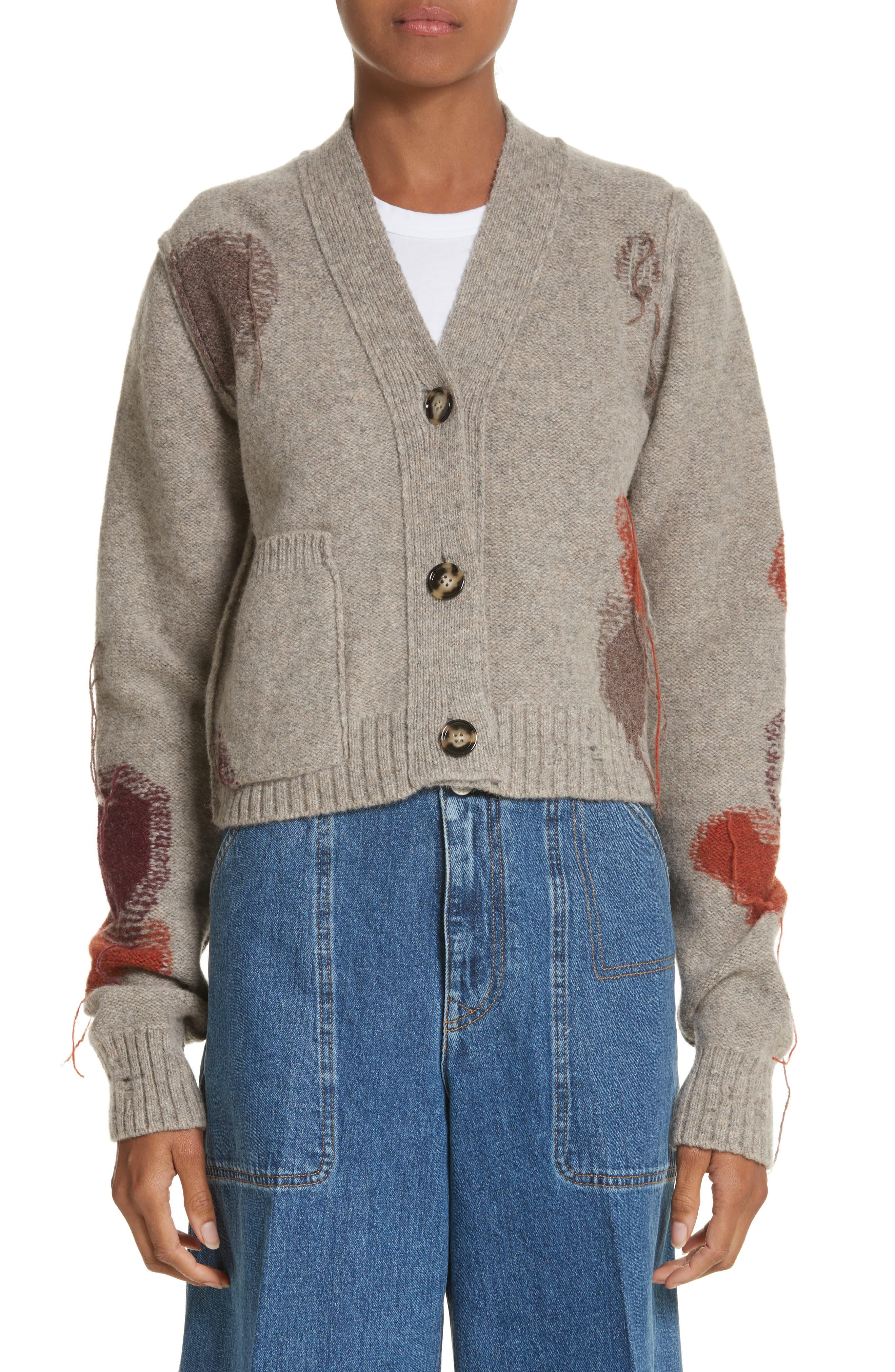 Lysa Distressed Wool Button Cardigan,                             Main thumbnail 1, color,                             250