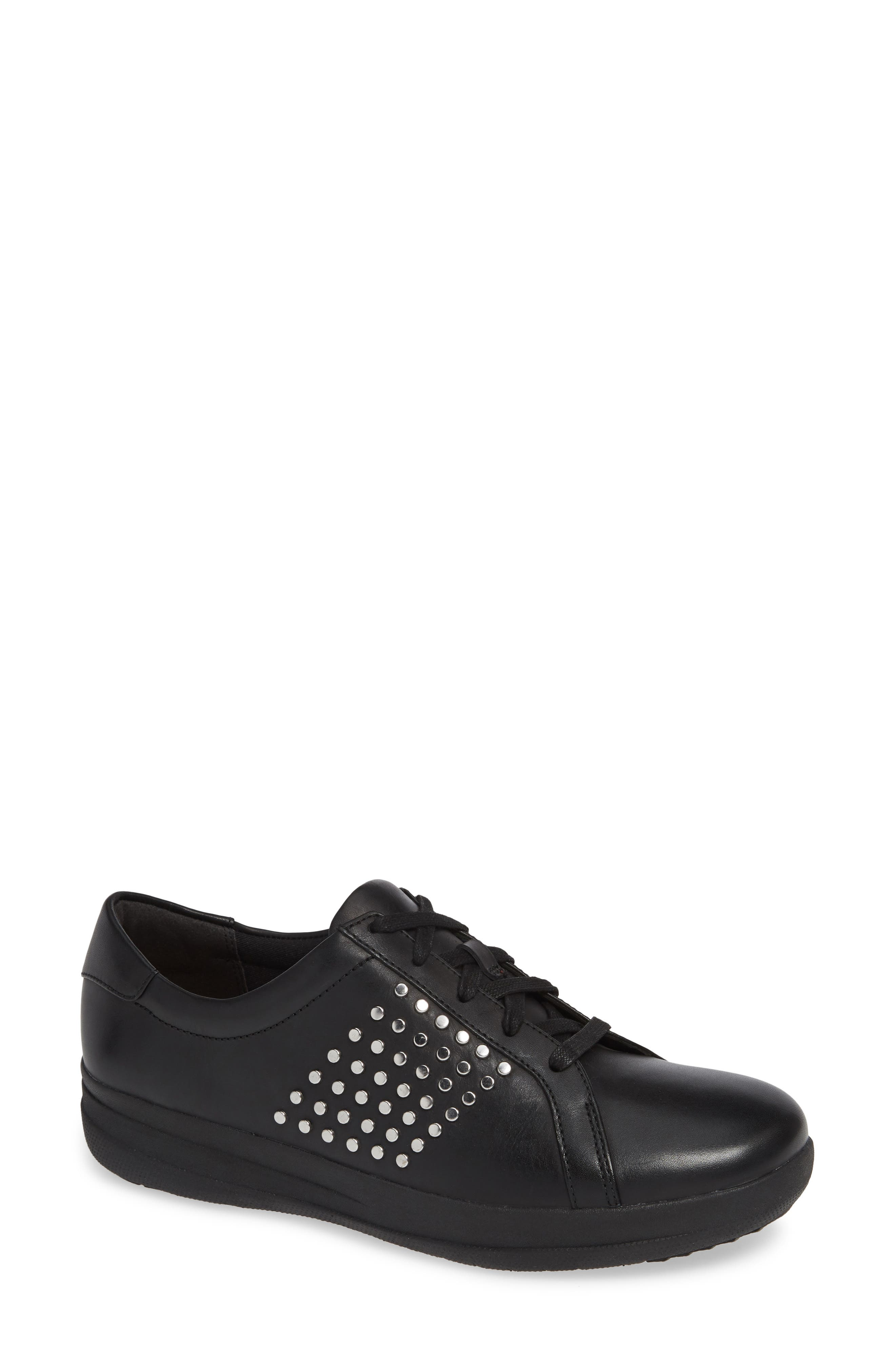 F-Sporty II Studded Sneaker, Main, color, BLACK LEATHER