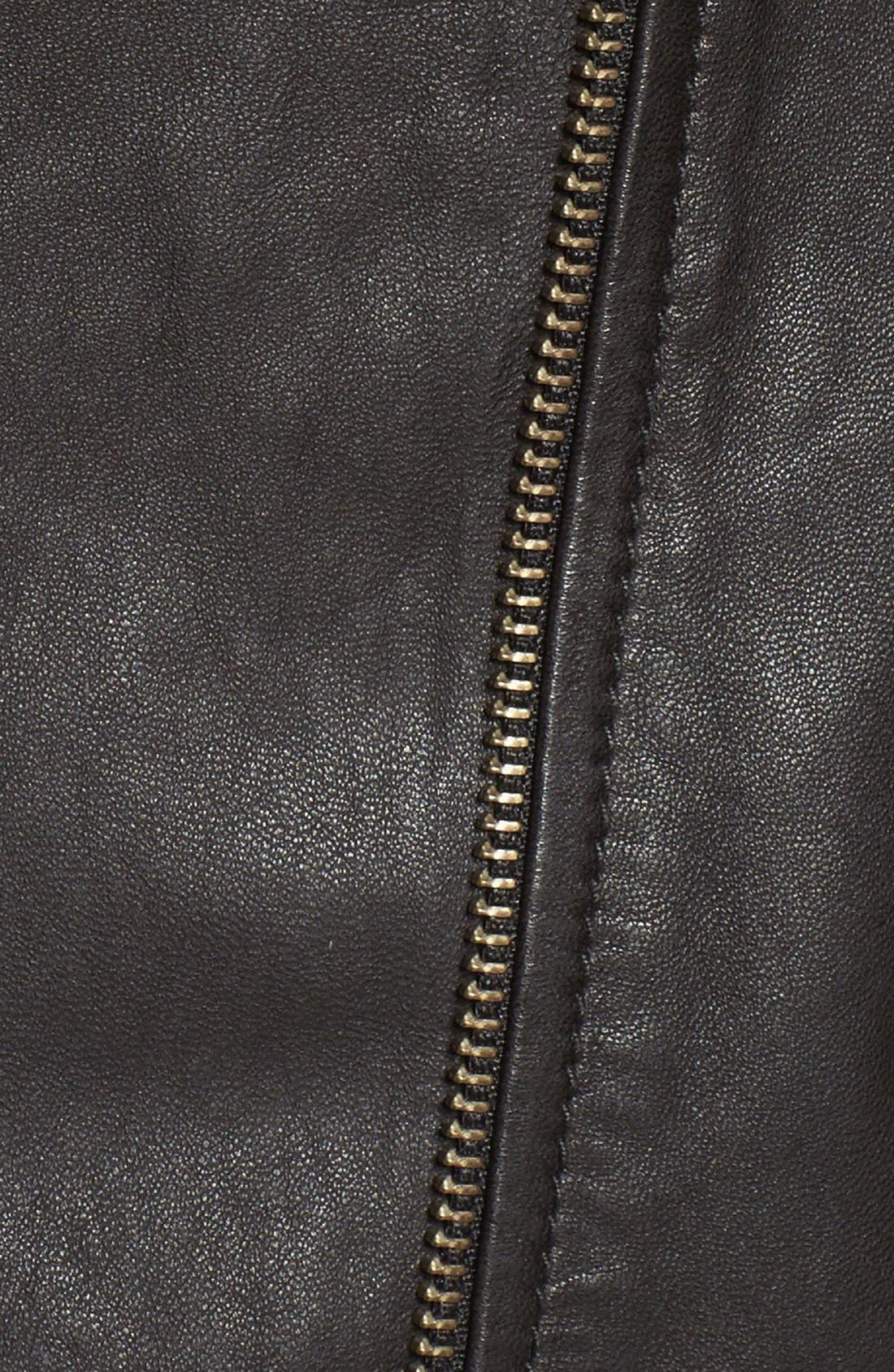 Quilted Leather Moto Jacket,                             Alternate thumbnail 8, color,                             001