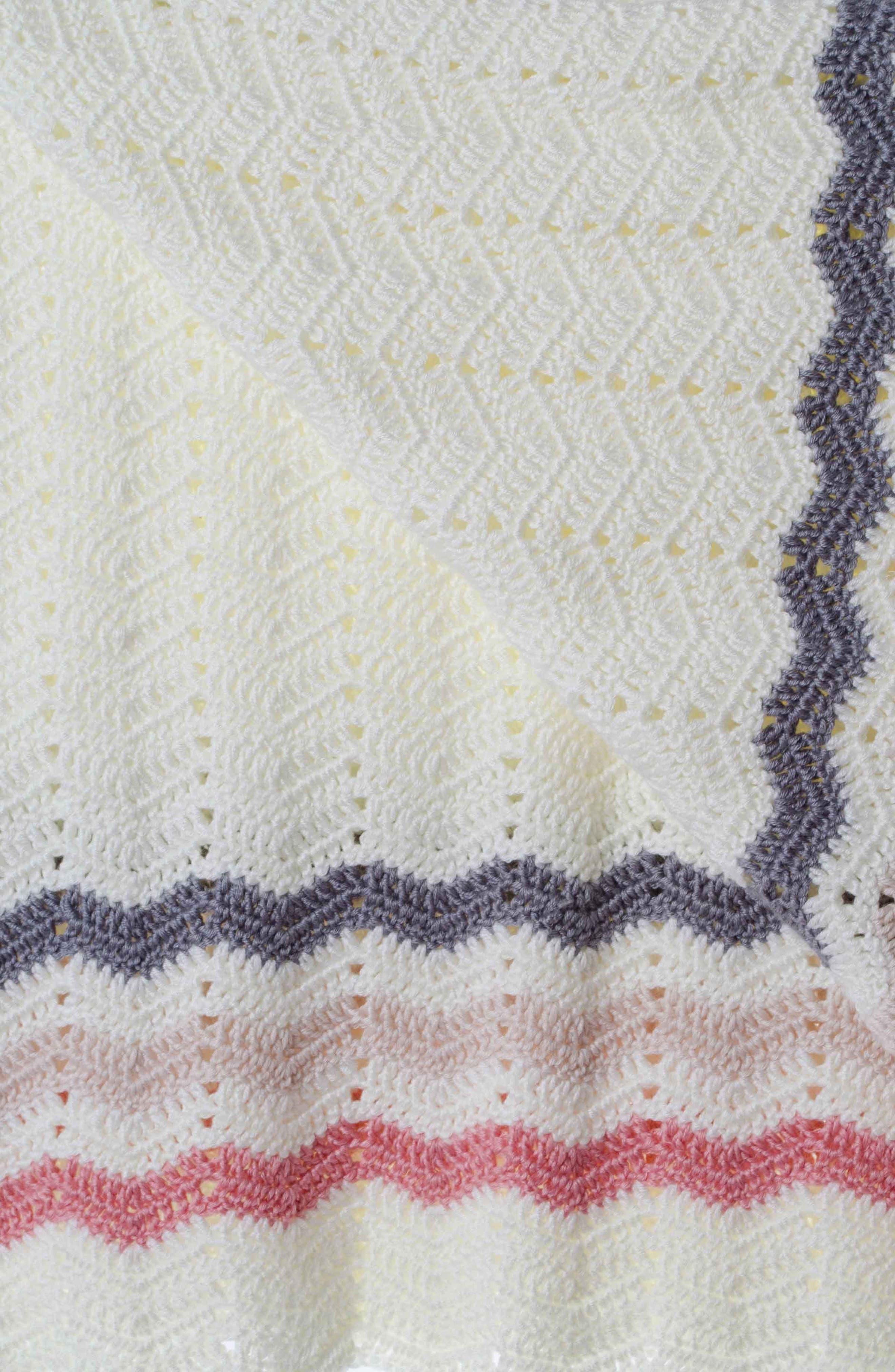 Ripple Crocheted Blanket,                             Alternate thumbnail 2, color,                             PINK