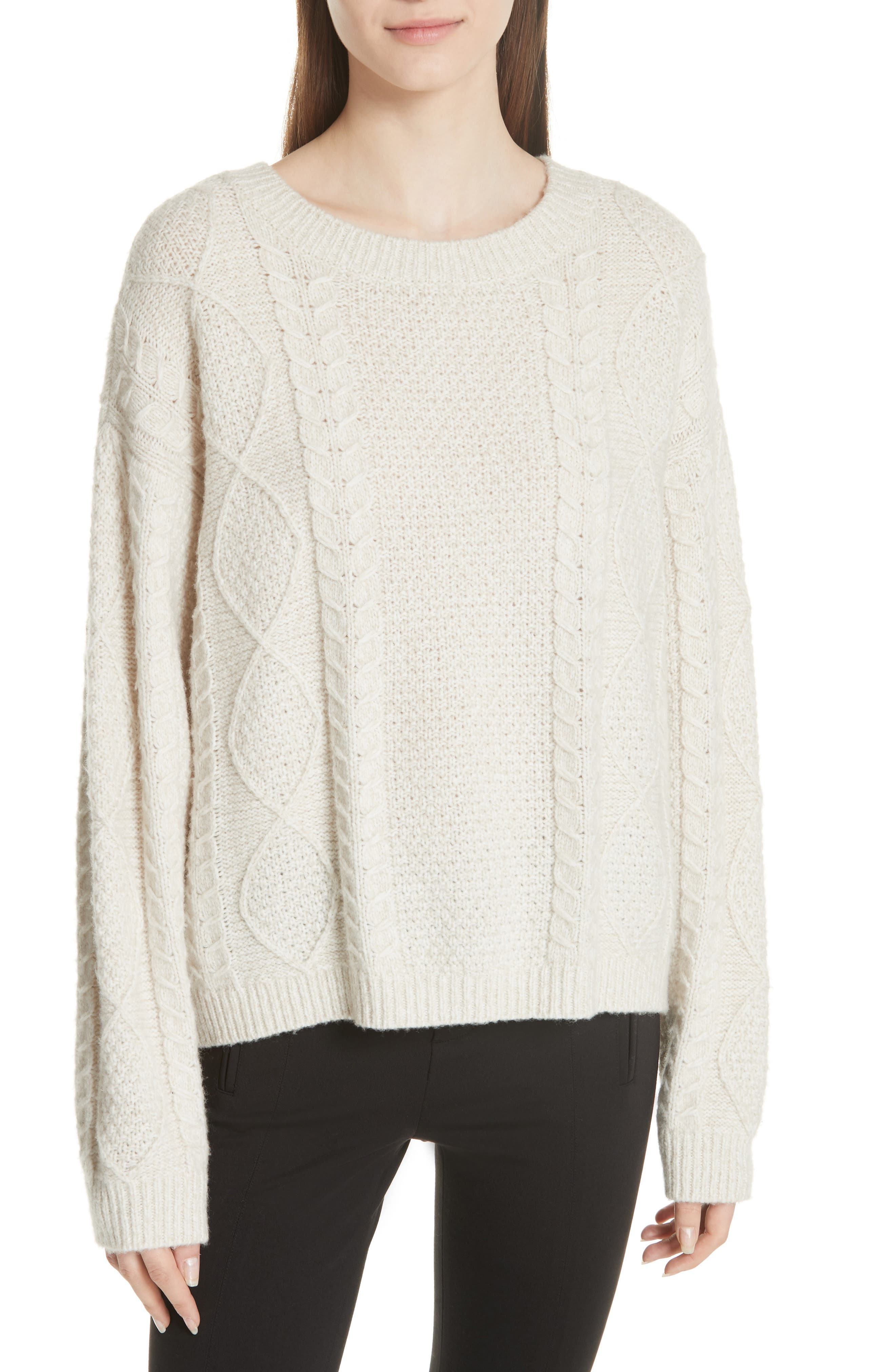 Wool & Cashmere Blend Cable Knit Sweater,                             Main thumbnail 1, color,                             901