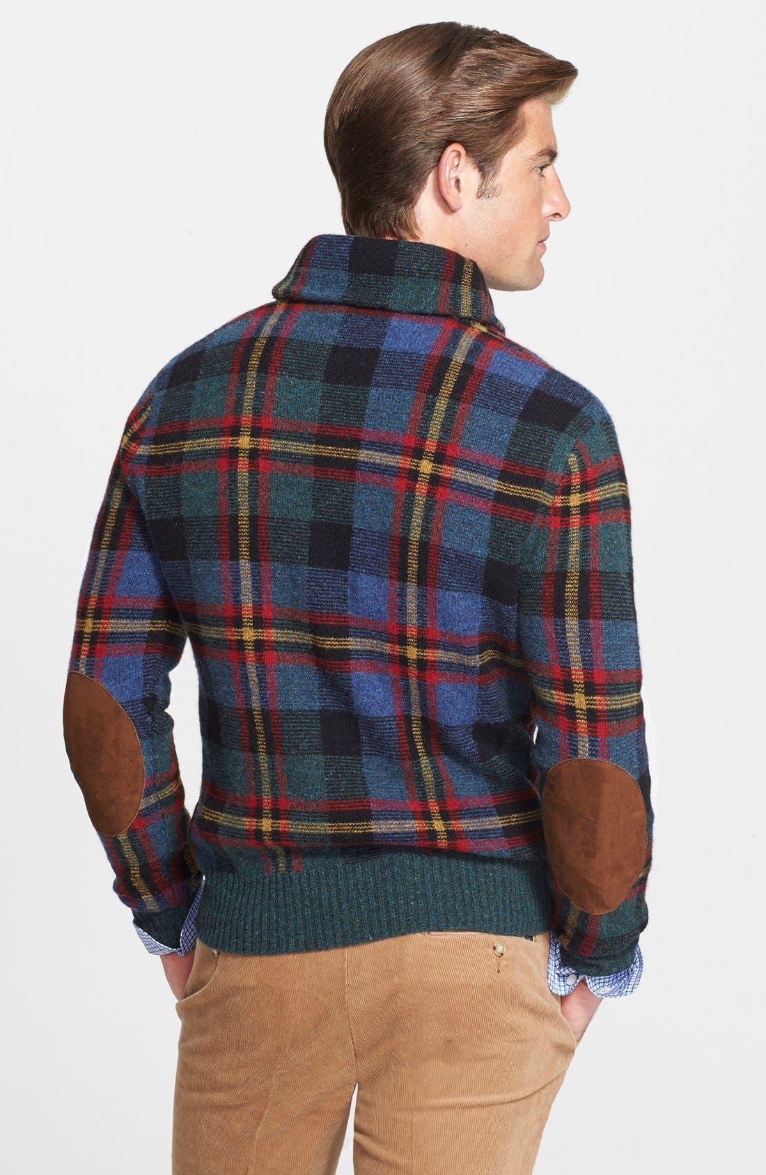 POLO RALPH LAUREN,                             Plaid Shawl Collar Wool Sweater,                             Alternate thumbnail 2, color,                             420