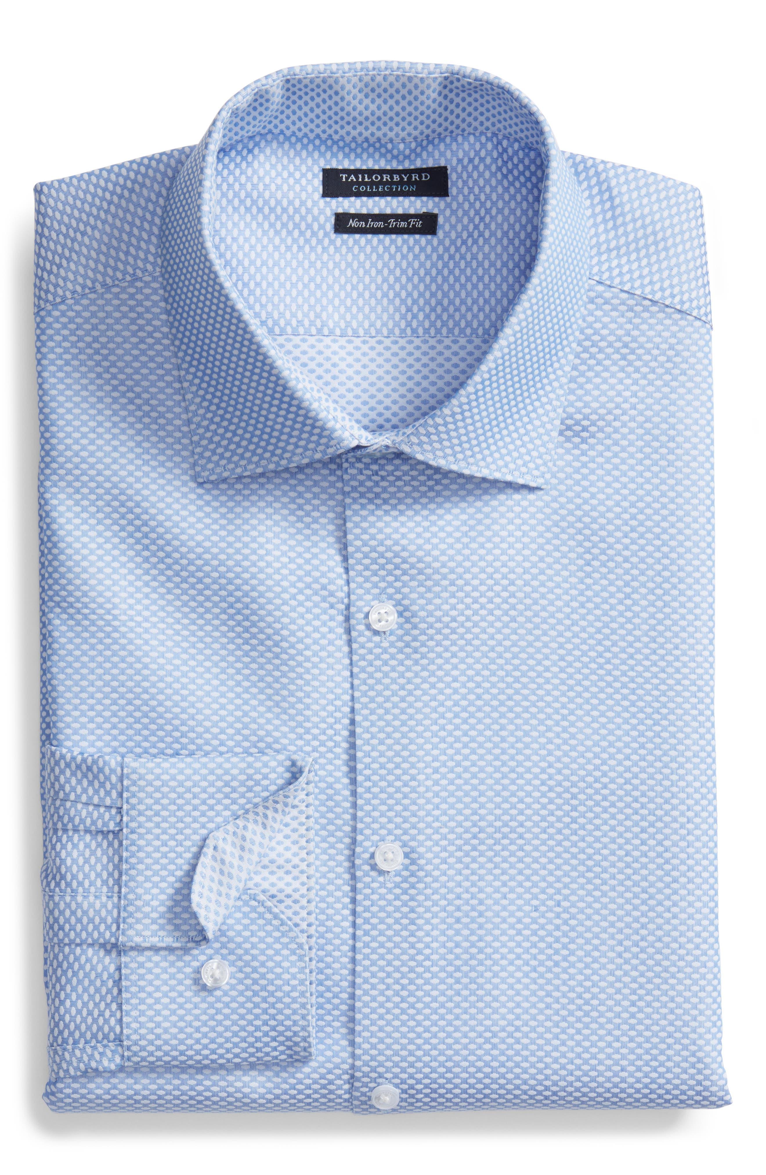 Holmes Trim Fit Dot Dress Shirt,                             Alternate thumbnail 5, color,                             450