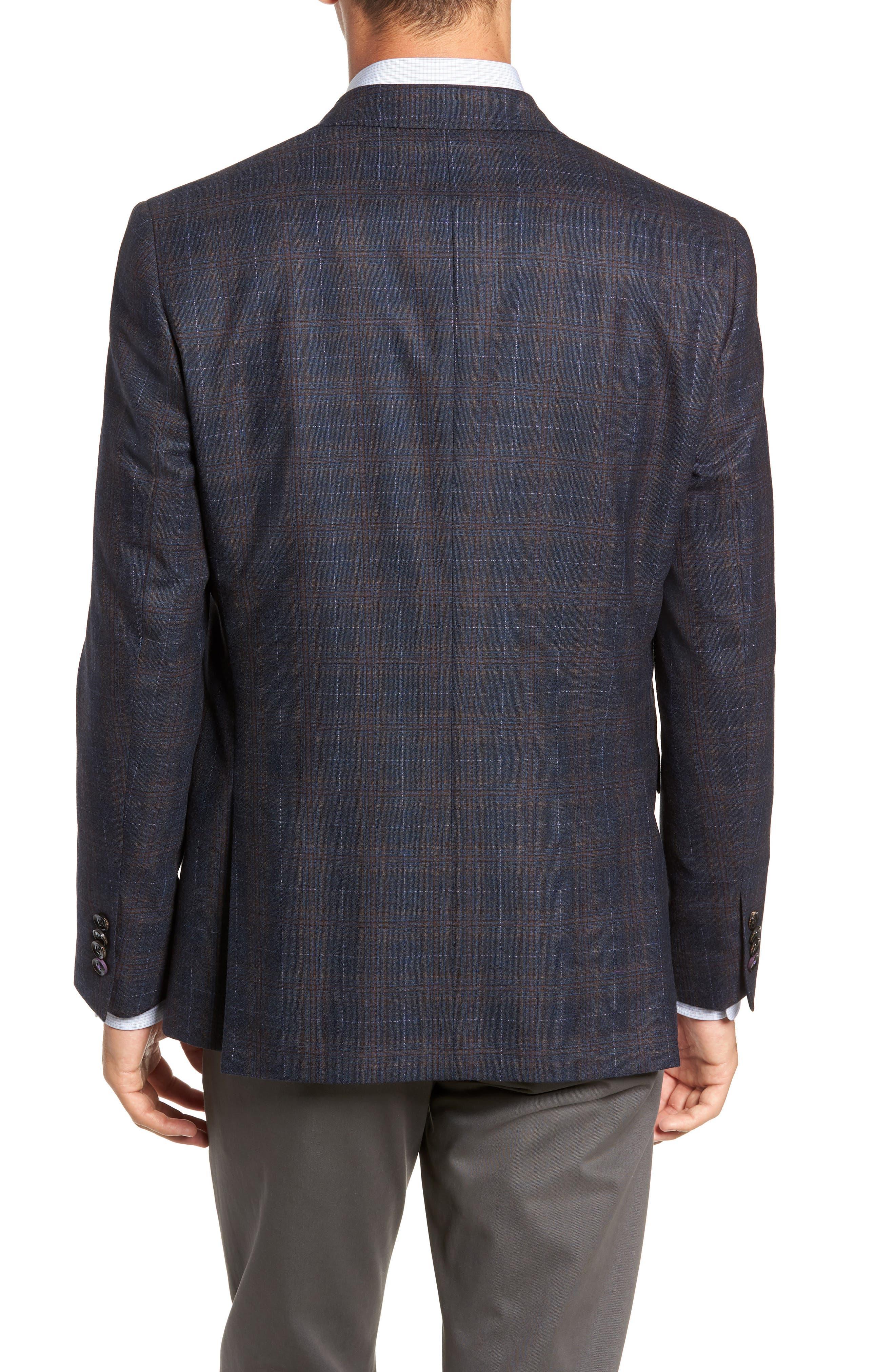 Jay 2B Trim Fit Plaid Wool Sport Coat,                             Alternate thumbnail 2, color,                             BLUE PLAID