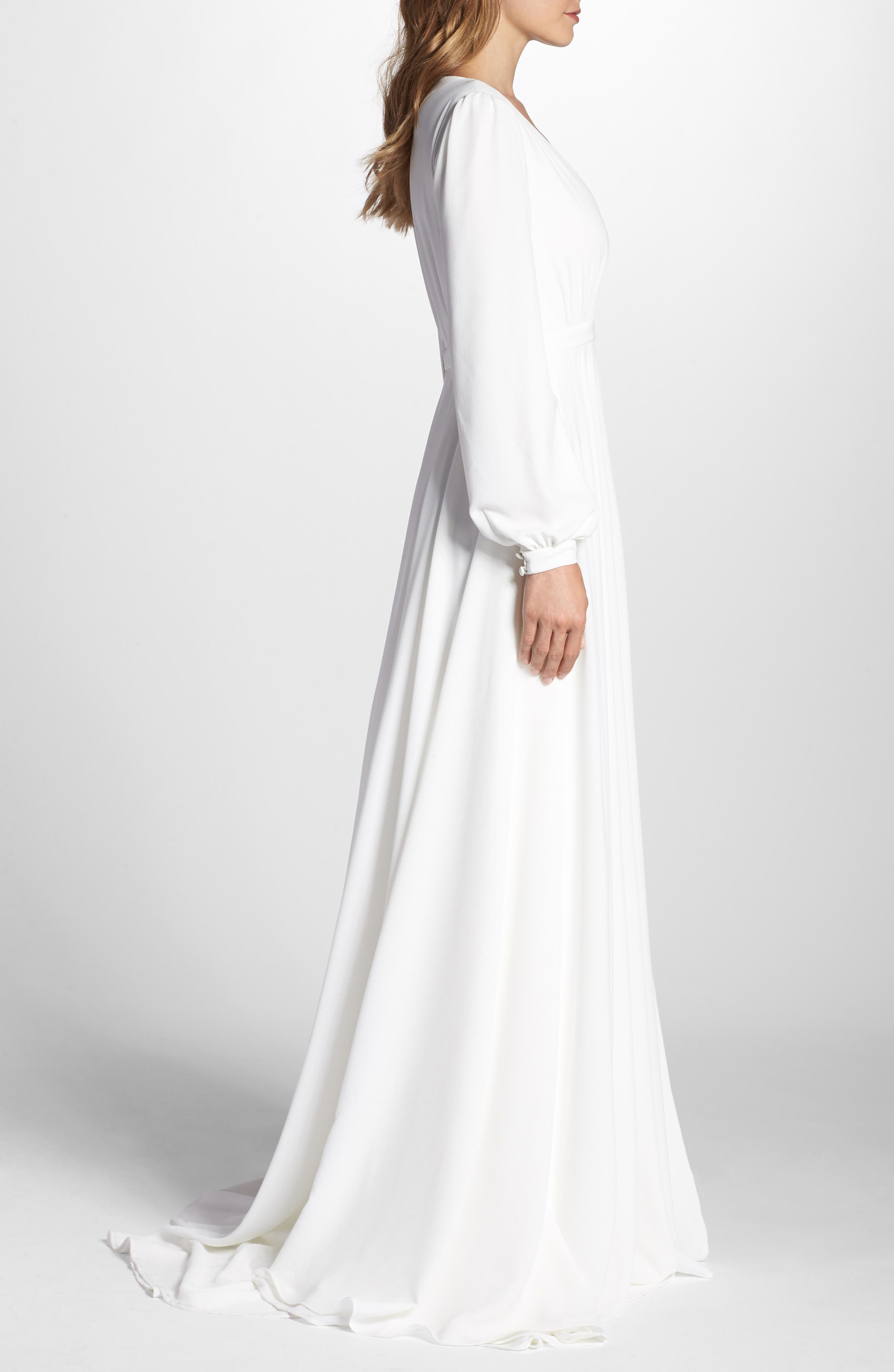 Floyd V-Neck Long Sleeve Gown,                             Alternate thumbnail 3, color,                             WHITE