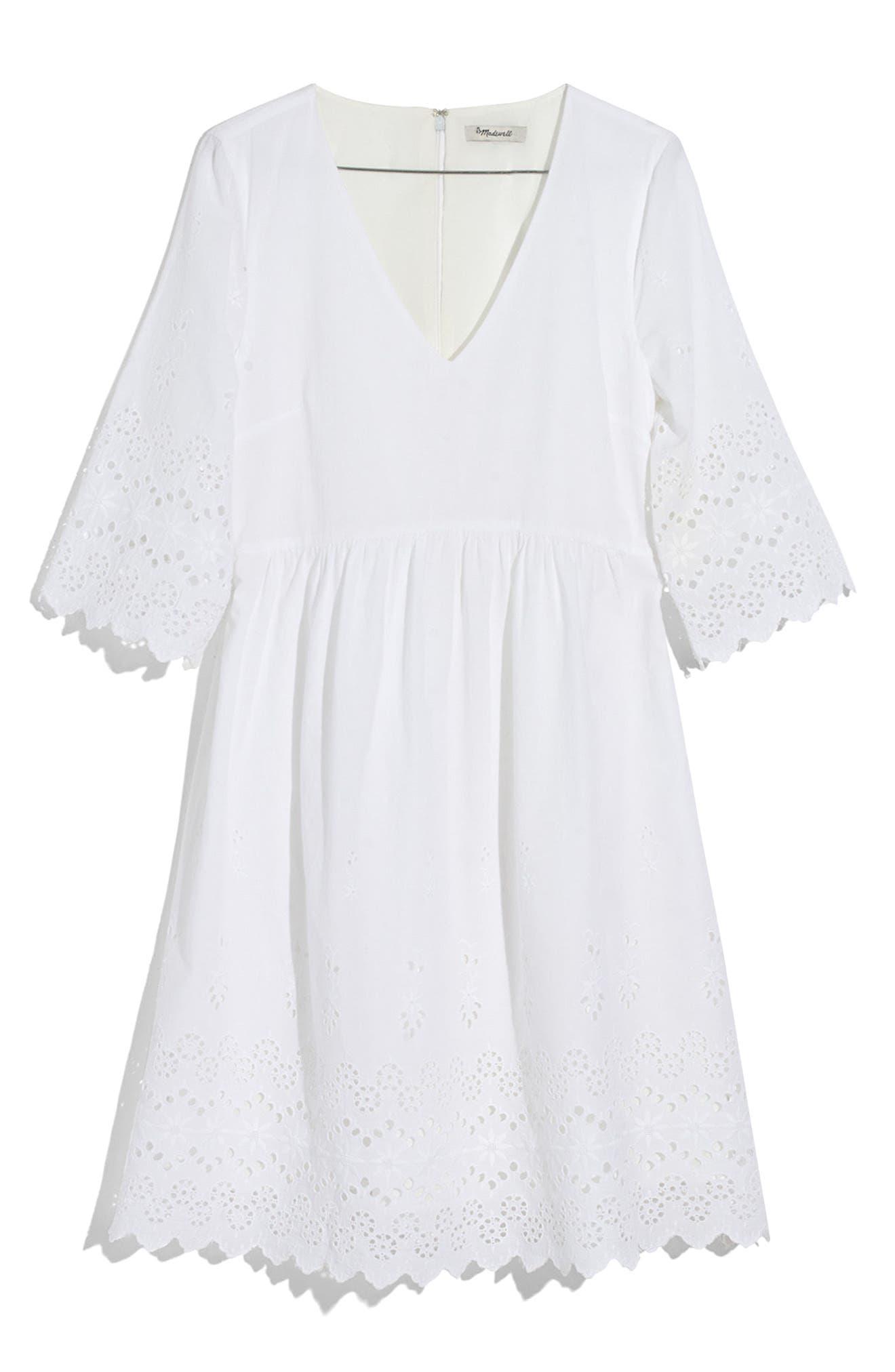Eyelet Lattice Dress,                             Main thumbnail 1, color,                             100