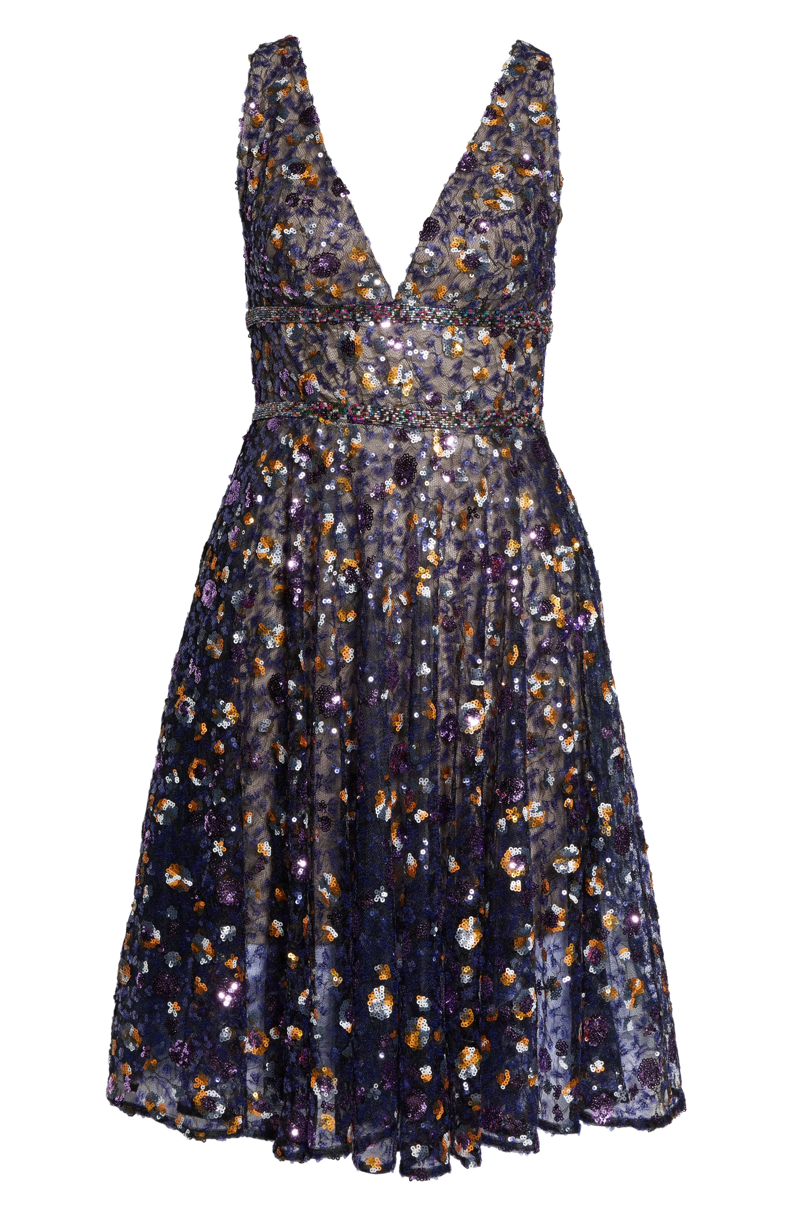 BRONX AND BANCO,                             Sequin Fit & Flare Dress,                             Alternate thumbnail 7, color,                             MULTICOLOR