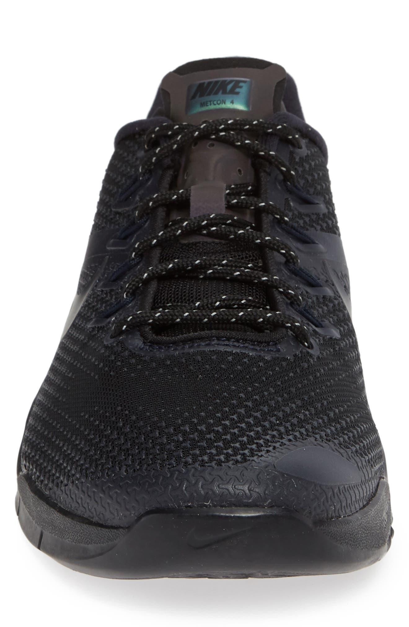 NIKE,                             Metcon 4 Prem Training Shoe,                             Alternate thumbnail 4, color,                             BLACK/ BLACK/ DARK OBSIDIAN