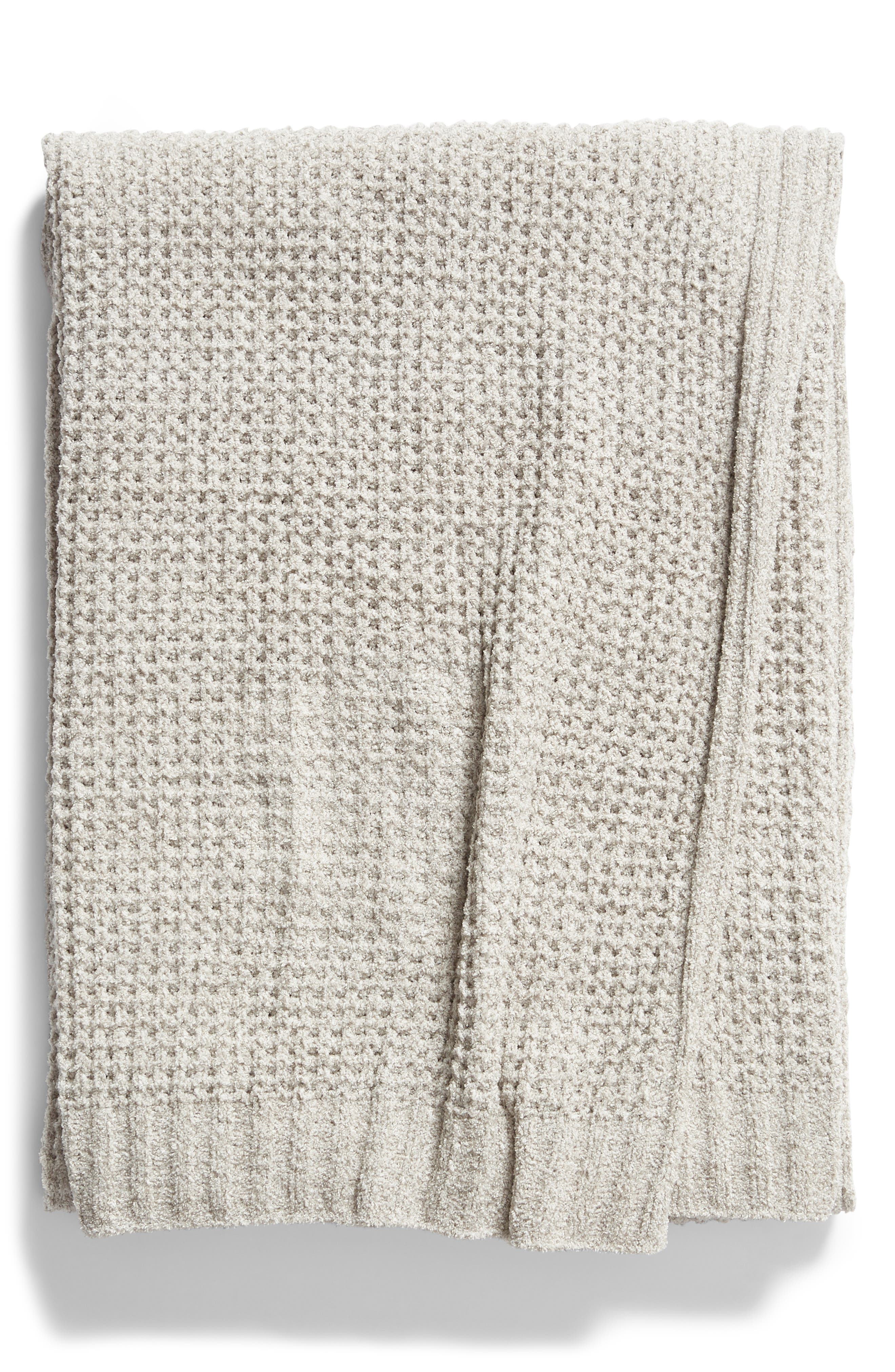 BAREFOOT DREAMS<SUP>®</SUP>,                             Barefoot Dreams CozyChic<sup>™</sup> Waffle Knit Throw,                             Main thumbnail 1, color,                             DOVE GRAY