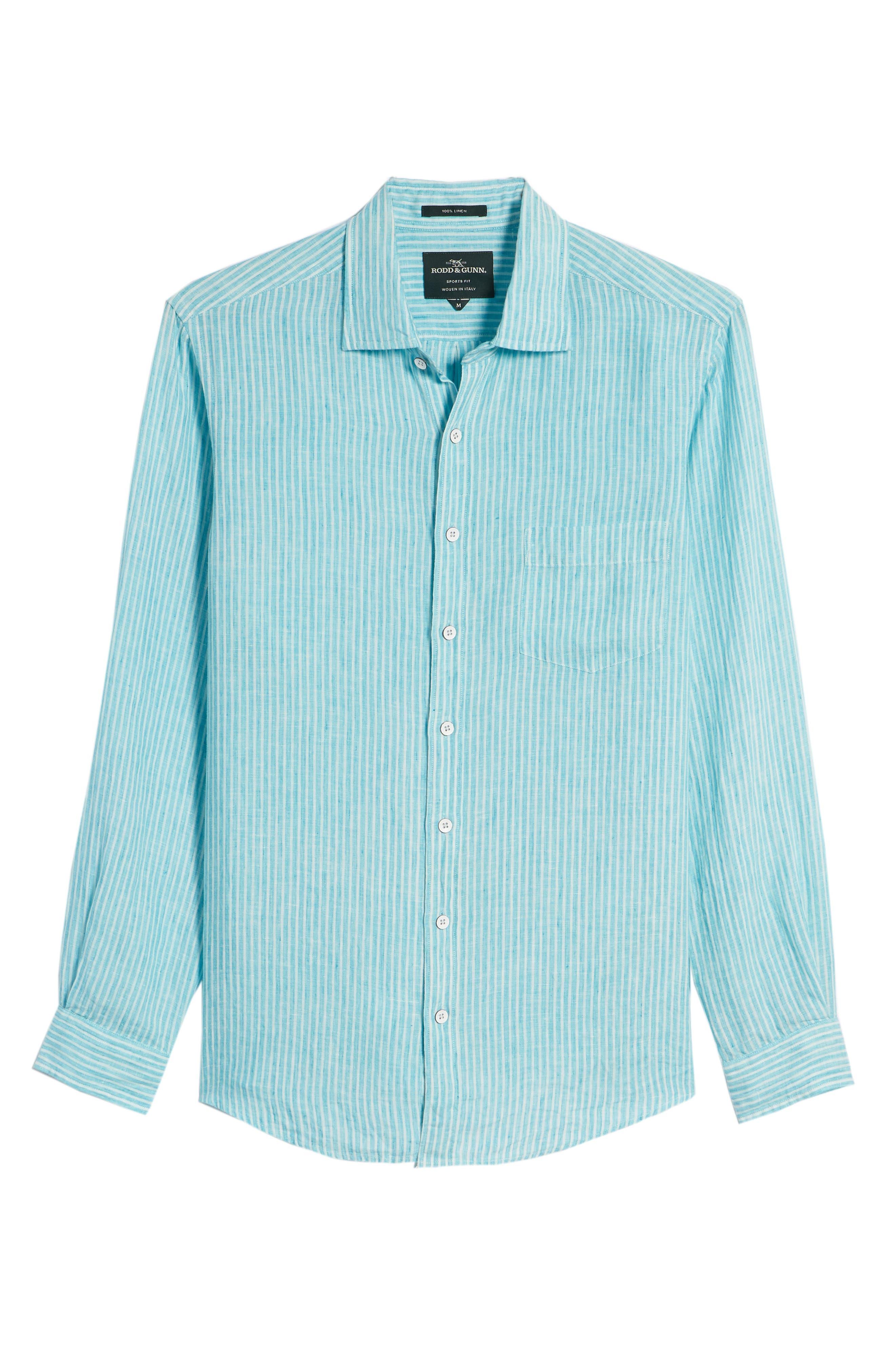 Warwick Junction Stripe Linen Sport Shirt,                             Alternate thumbnail 6, color,                             TEAL