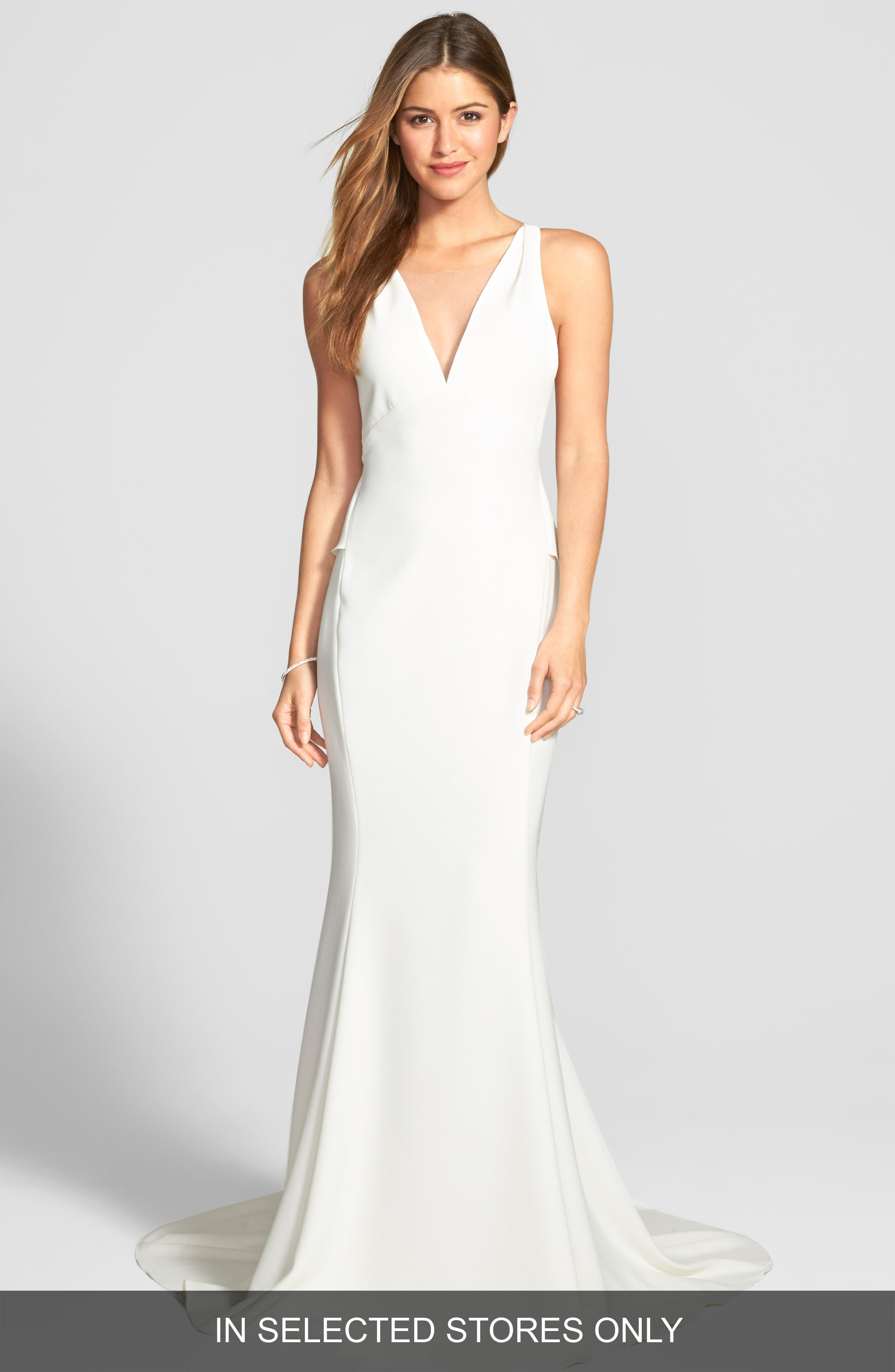 Back Detail Flared Silk Crepe Gown,                             Main thumbnail 1, color,                             IVORY
