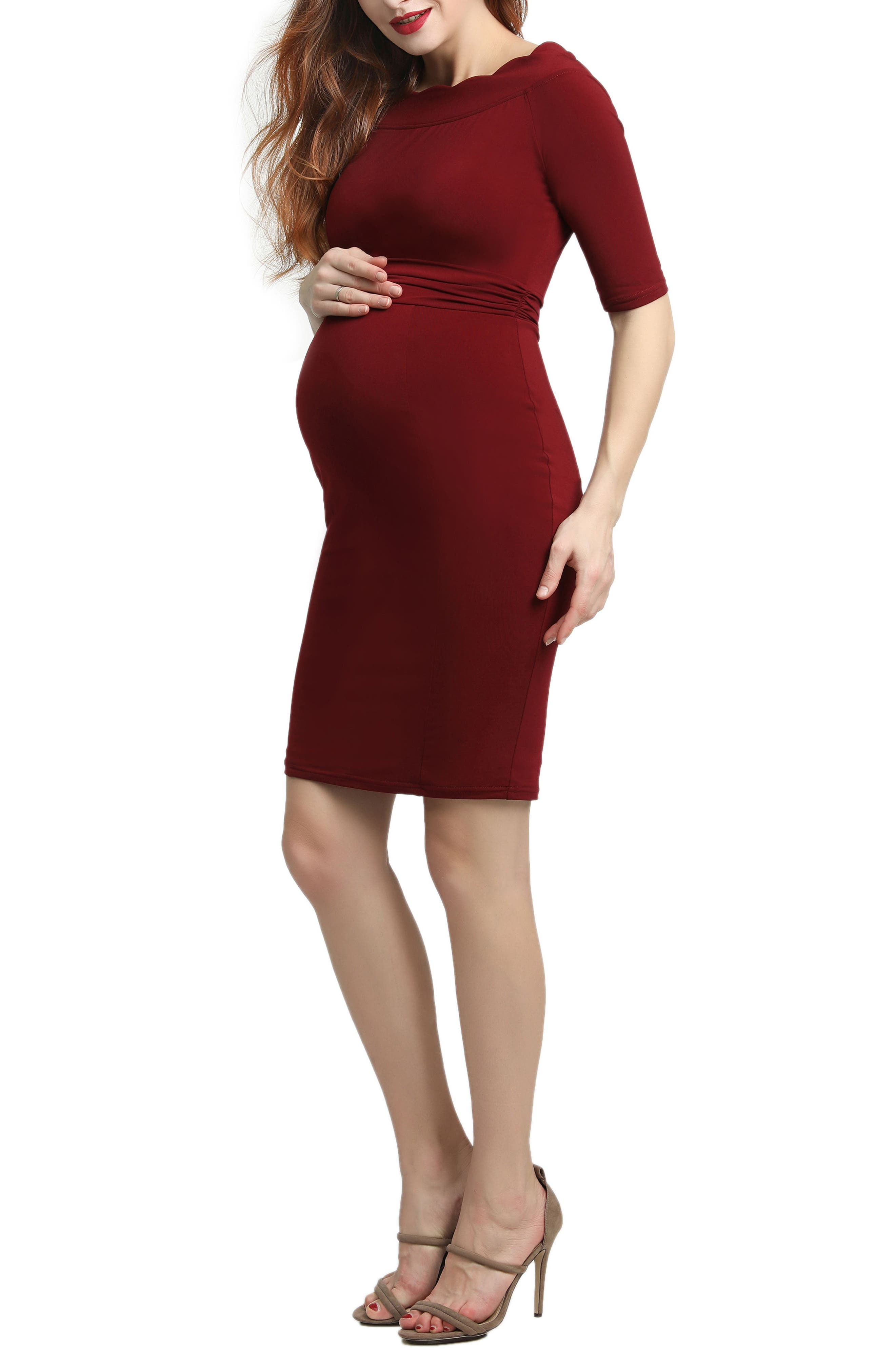 Kendall Scallop Trim Body-Con Maternity Dress,                             Alternate thumbnail 3, color,                             WINE