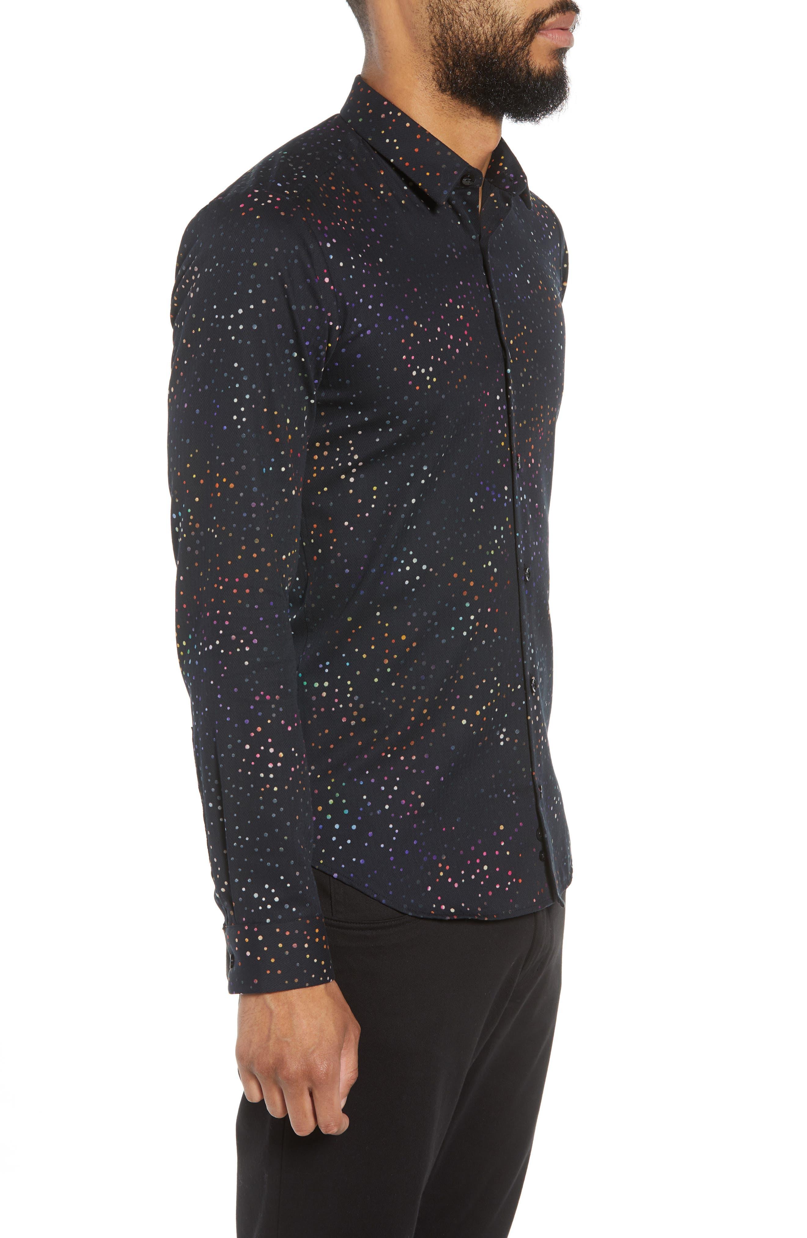 JARED LANG,                             Dot Herringbone Sport Shirt,                             Alternate thumbnail 3, color,                             BLACK MULTI COLORED DOTS
