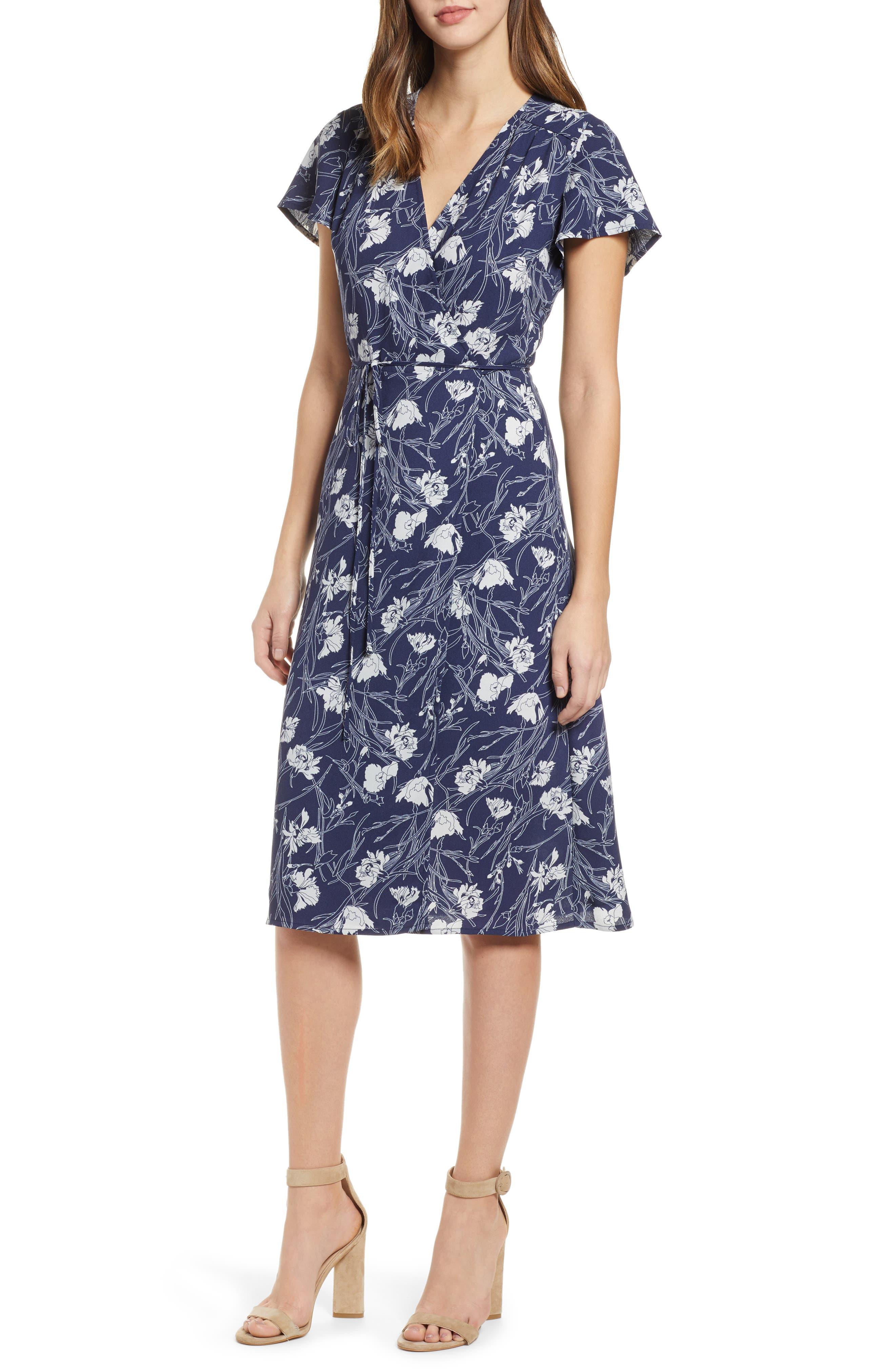 Leith Midi Wrap Dress, Blue