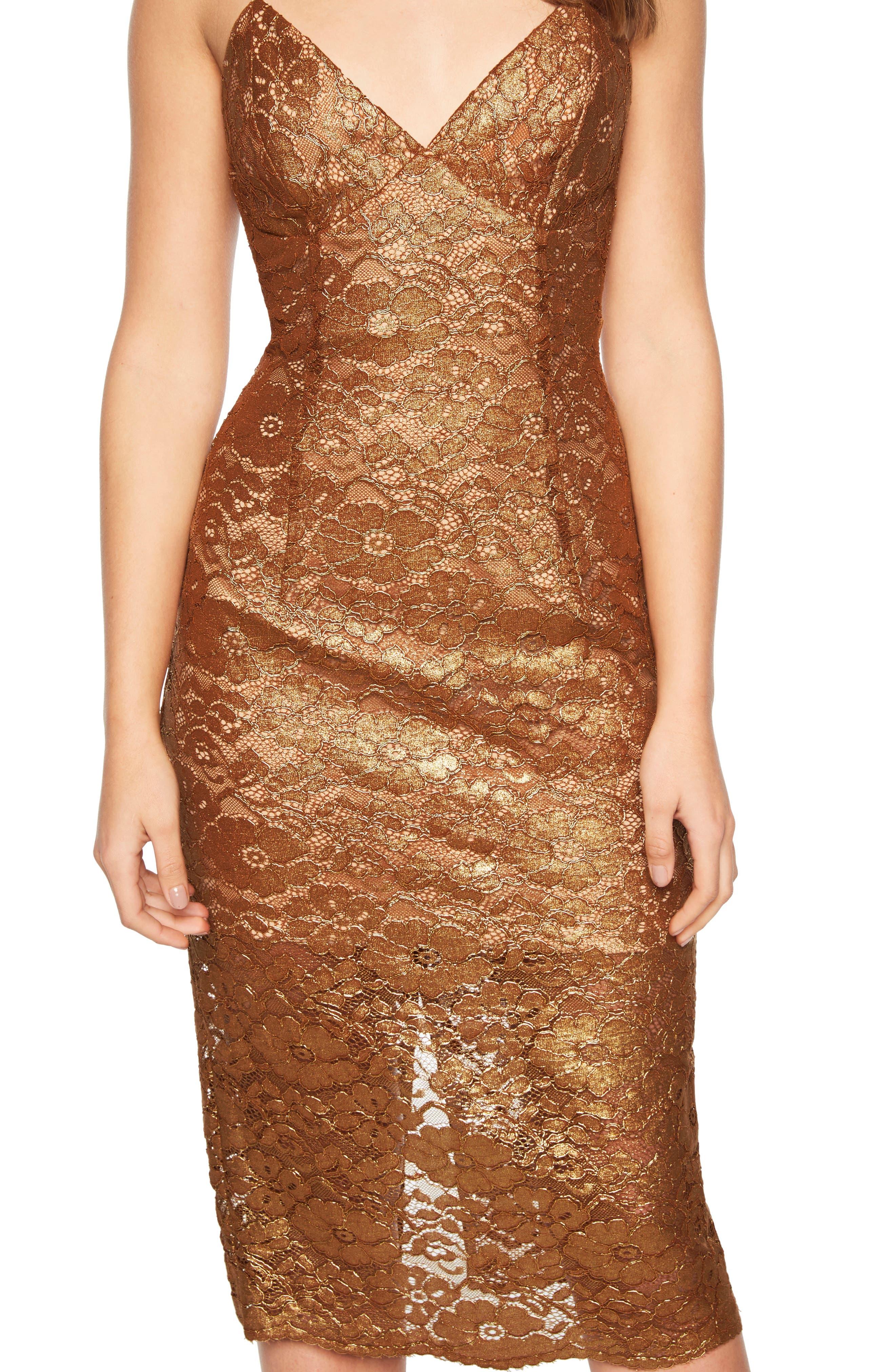 Metallic Lace Midi Sheath Dress,                             Alternate thumbnail 4, color,                             SOFT GOLD