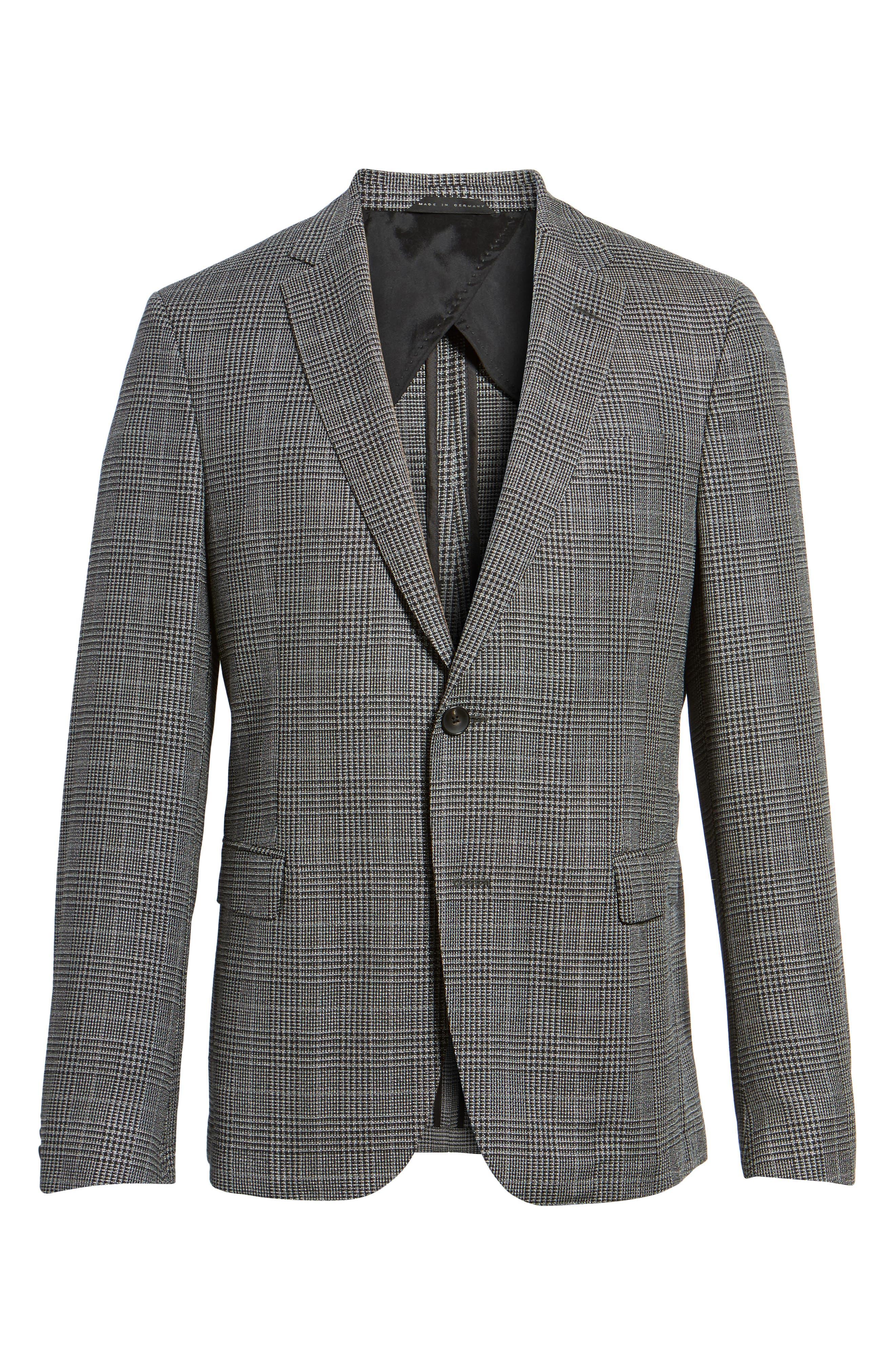 Nobis Trim Fit Plaid Wool & Silk Blend Sport Coat,                             Alternate thumbnail 5, color,                             OPEN GREY