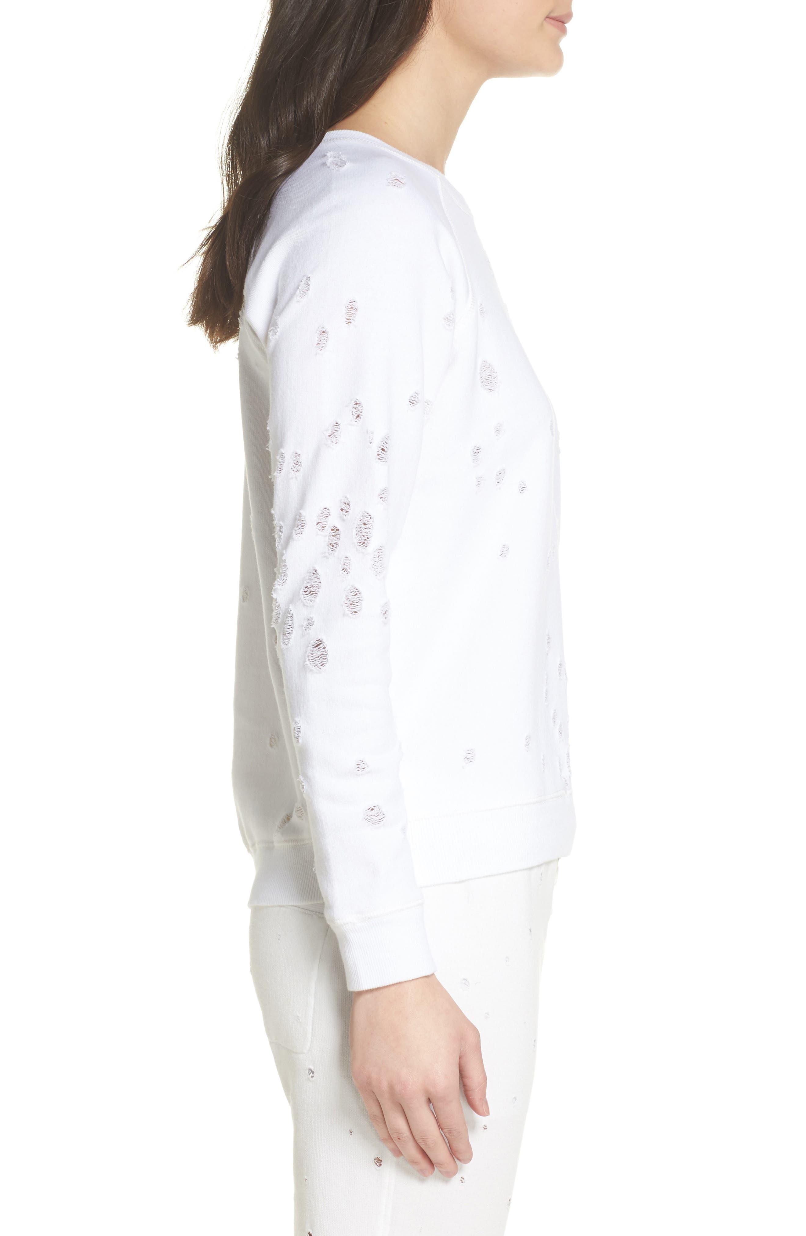 Distressed Lounge Sweatshirt,                             Alternate thumbnail 3, color,                             WHITE