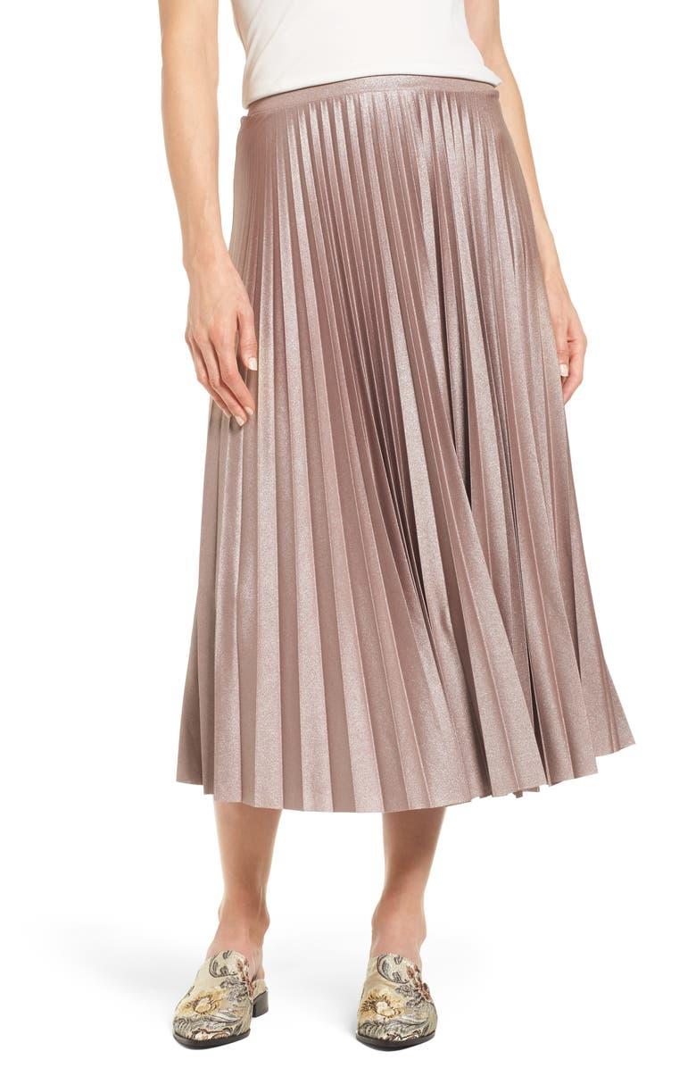 Metallic Pleat Midi Skirt,                         Main,                         color, PINK FOIL