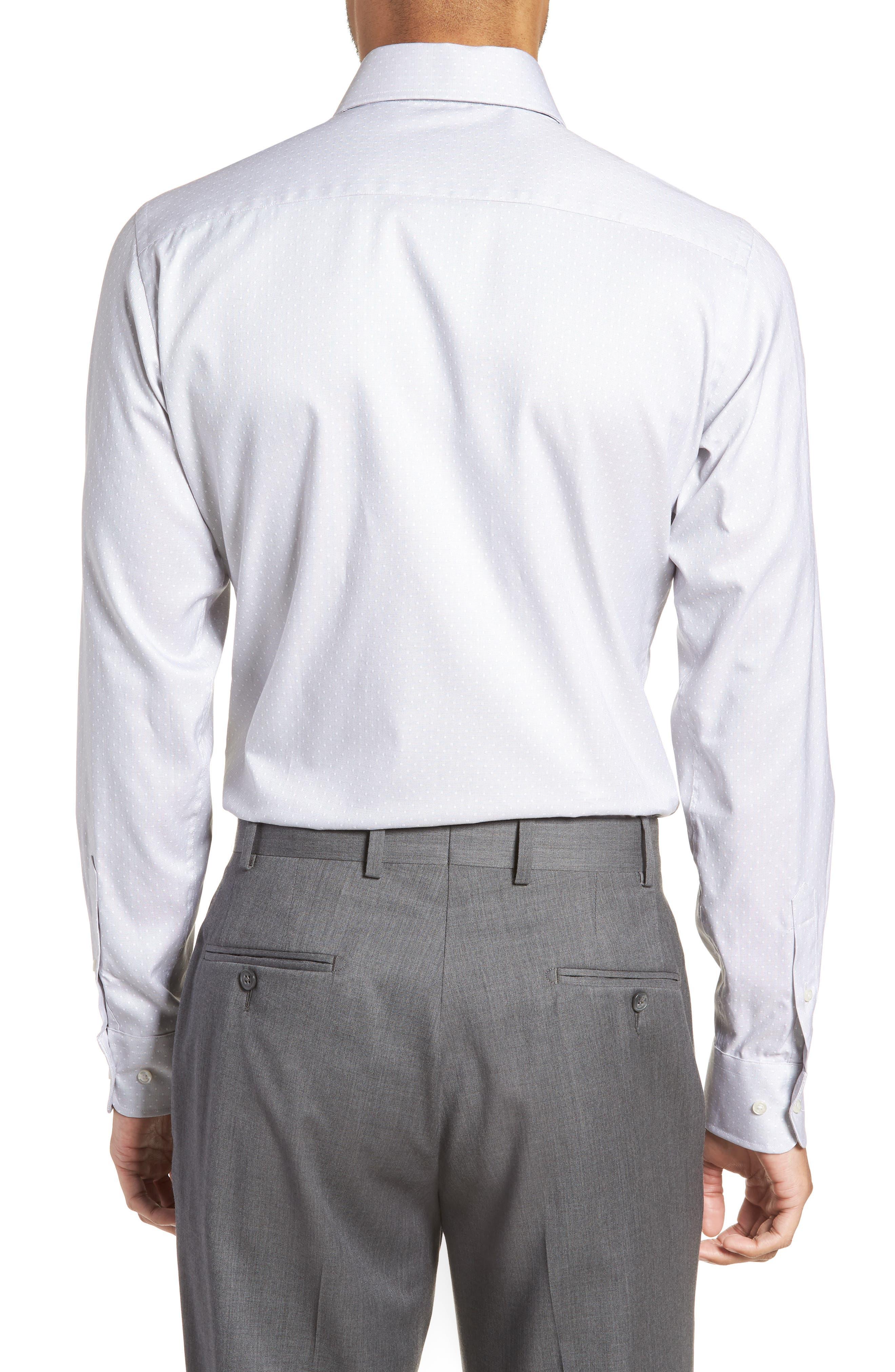 Slim Fit Dot Dress Shirt,                             Alternate thumbnail 3, color,                             GRAY