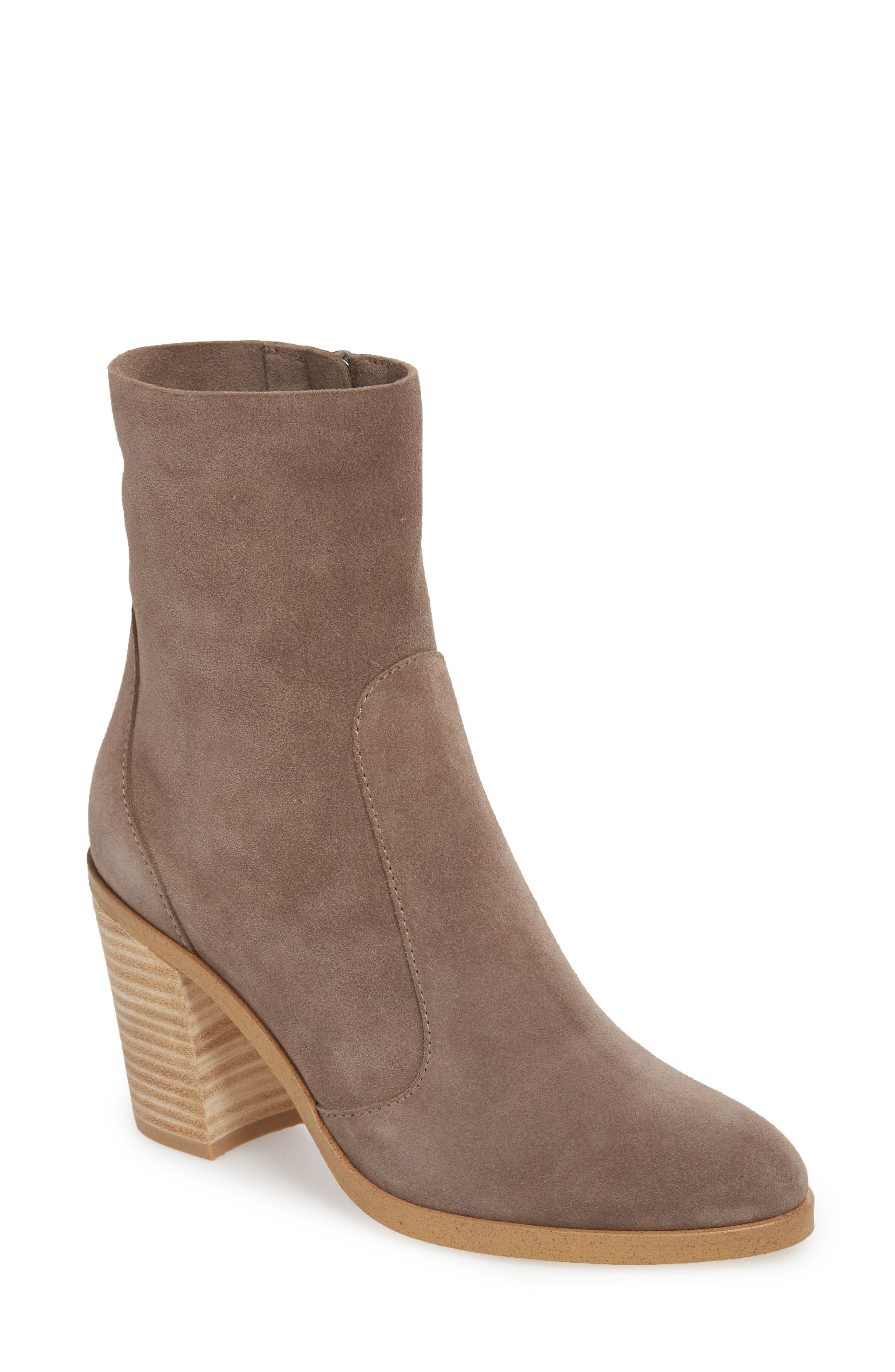 Roselyn II Almond Toe Bootie,                             Main thumbnail 1, color,                             LIGHT CHARCOAL SUEDE