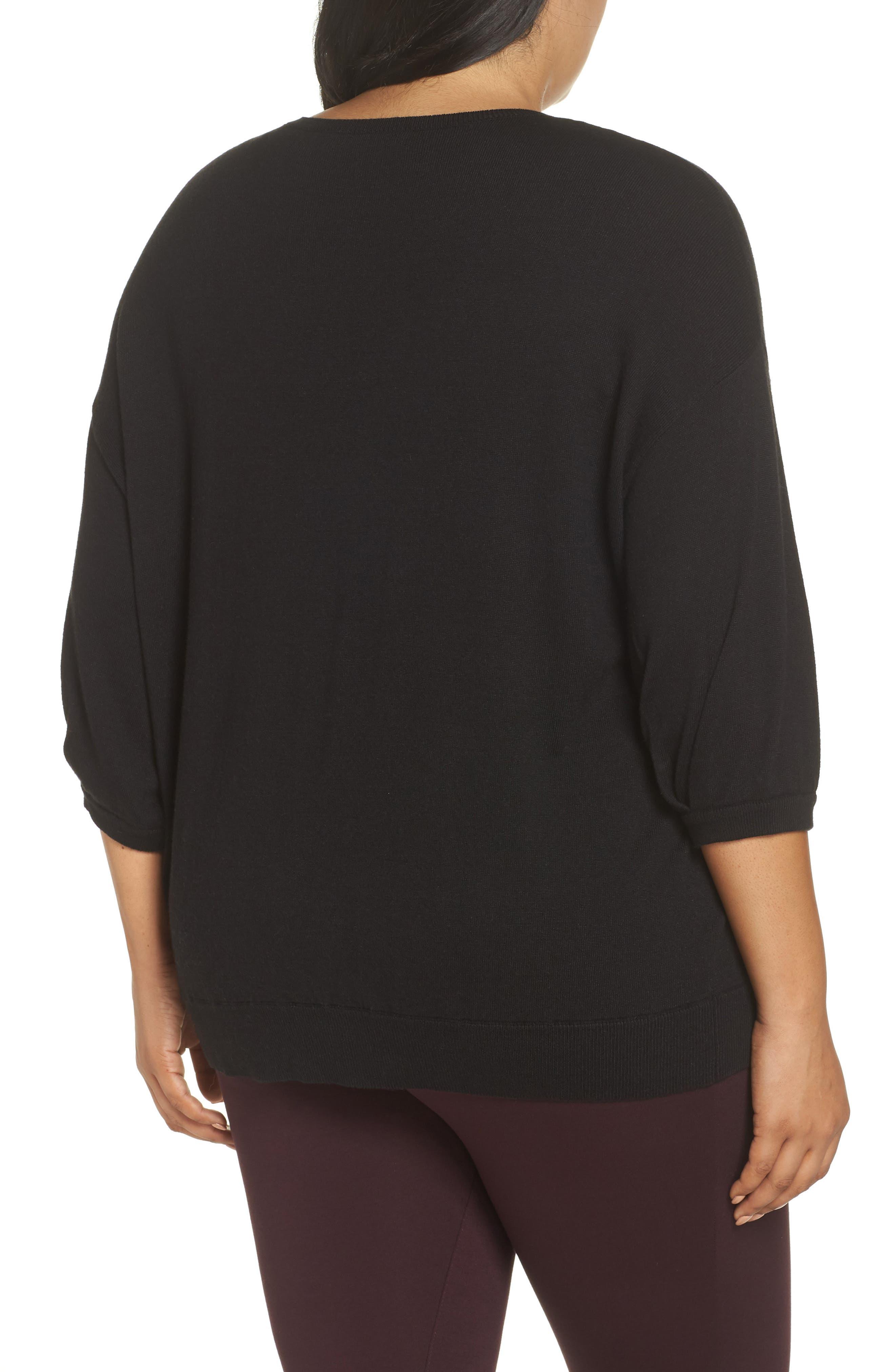 V-Neck Sweater,                             Alternate thumbnail 2, color,                             BLACK