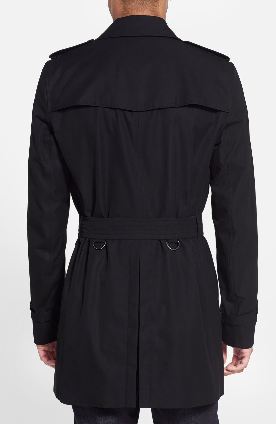 Kensington Double Breasted Trench Coat,                             Alternate thumbnail 3, color,                             BLACK-NEW