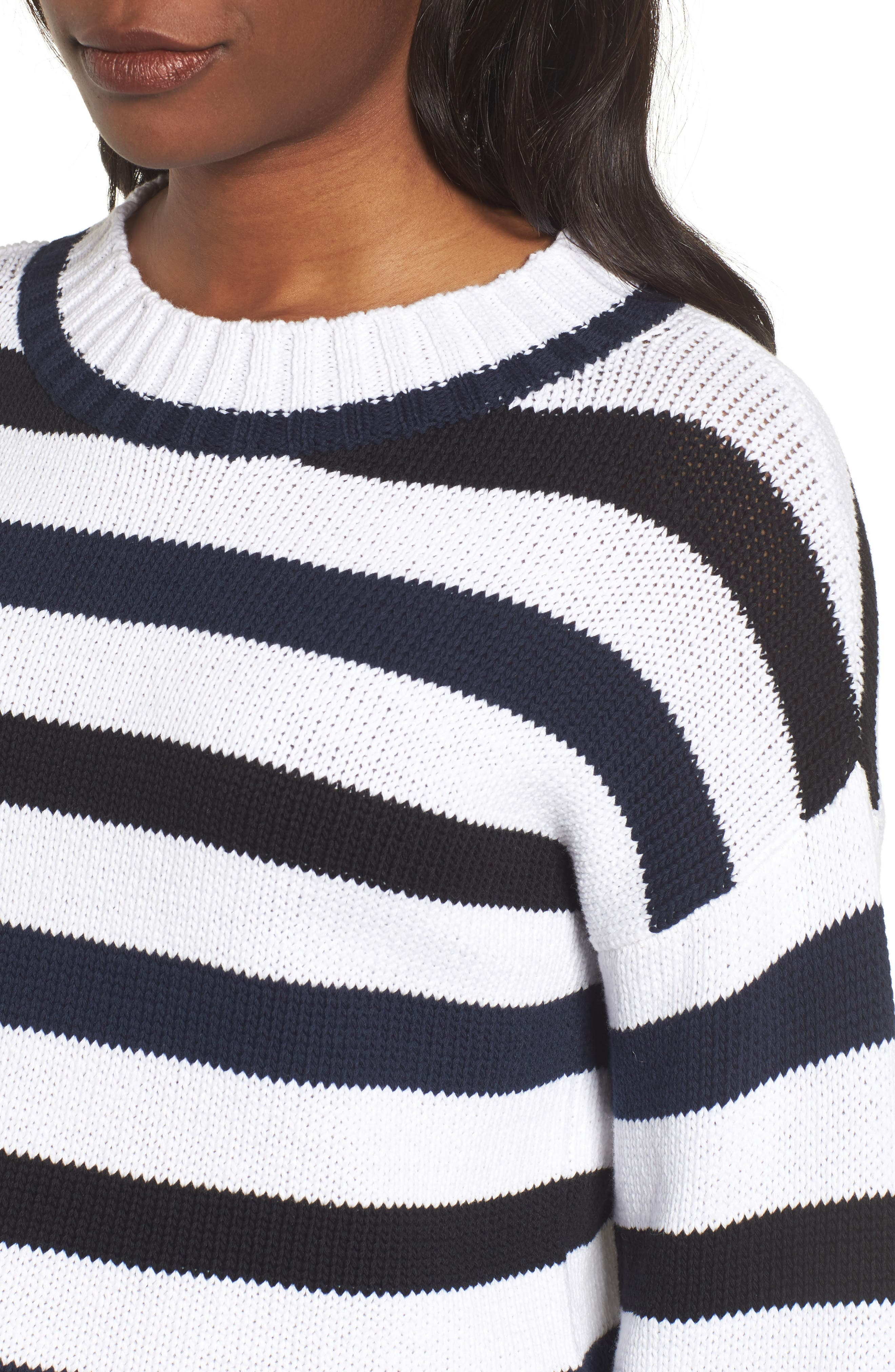 Wide Stripe Crop Sweater,                             Alternate thumbnail 4, color,                             INDIGO-WHITE