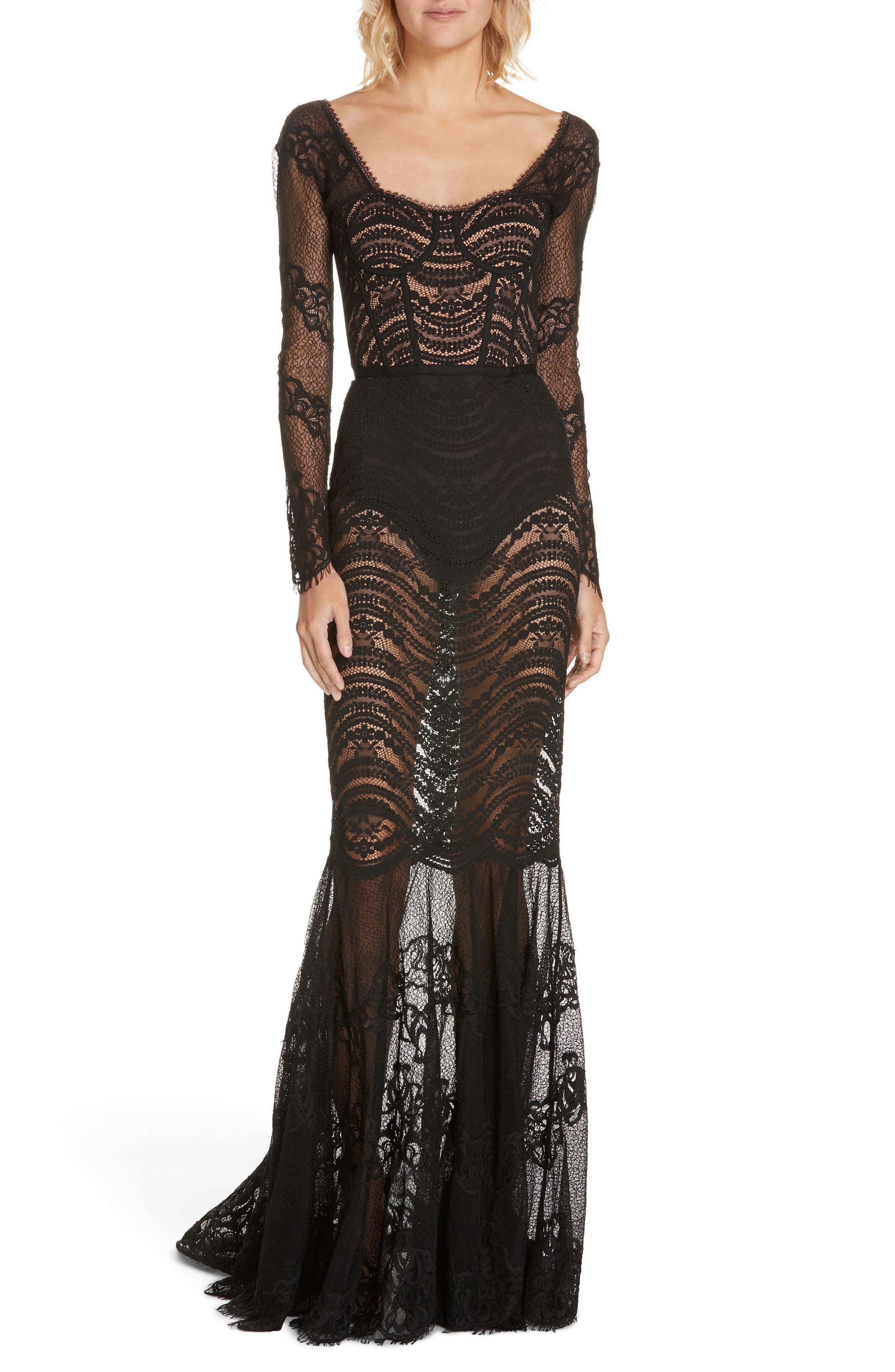JONATHAN SIMKHAI,                             Lace Bustier Bodysuit Dress,                             Alternate thumbnail 5, color,                             BLACK