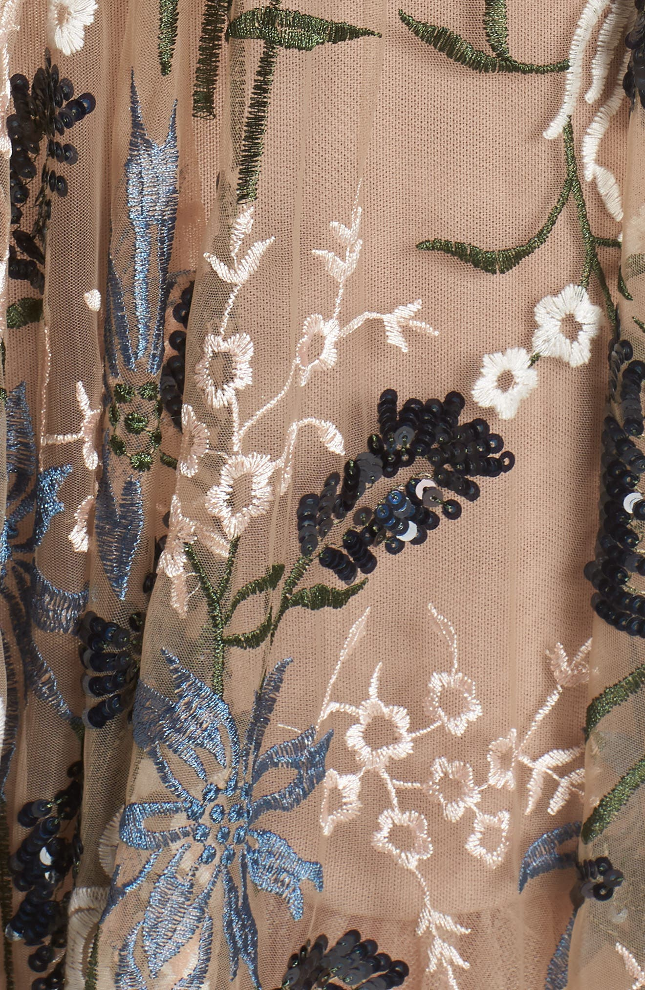 Tunisia Embroidered Plunge Neck Gown,                             Alternate thumbnail 5, color,                             255