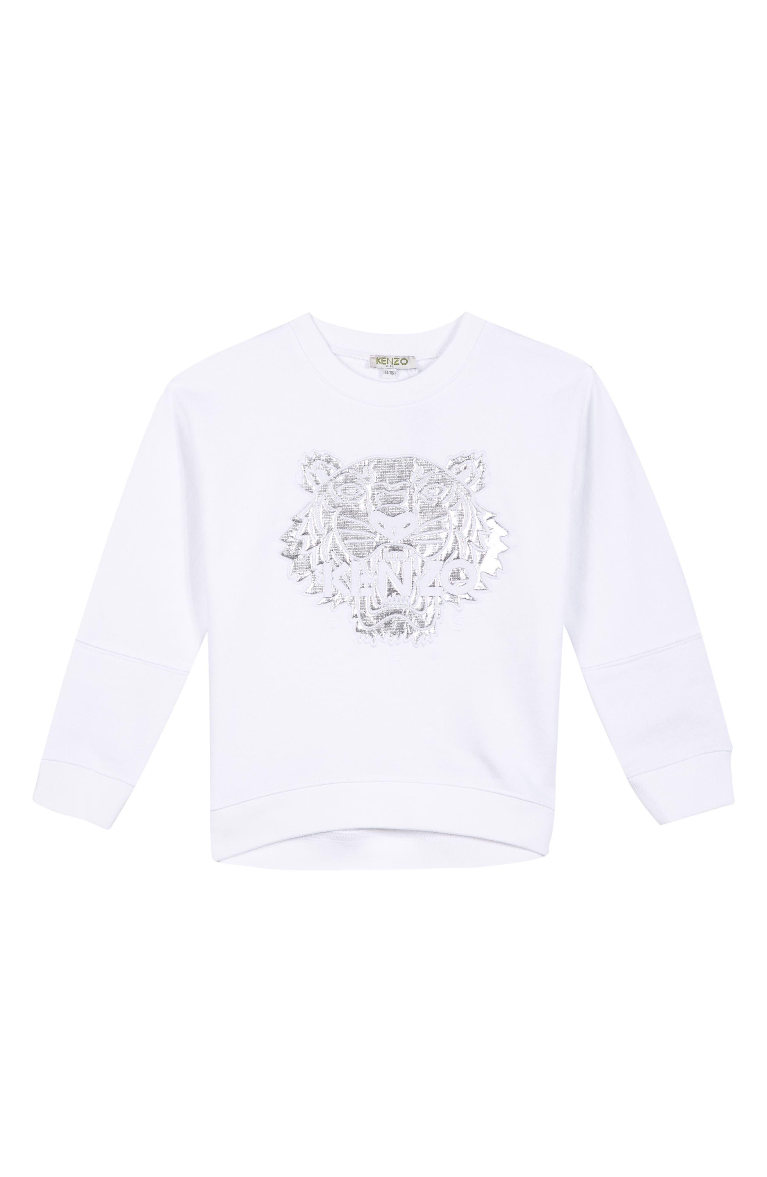 Tiger Appliqué Sweatshirt,                         Main,                         color, WHITE