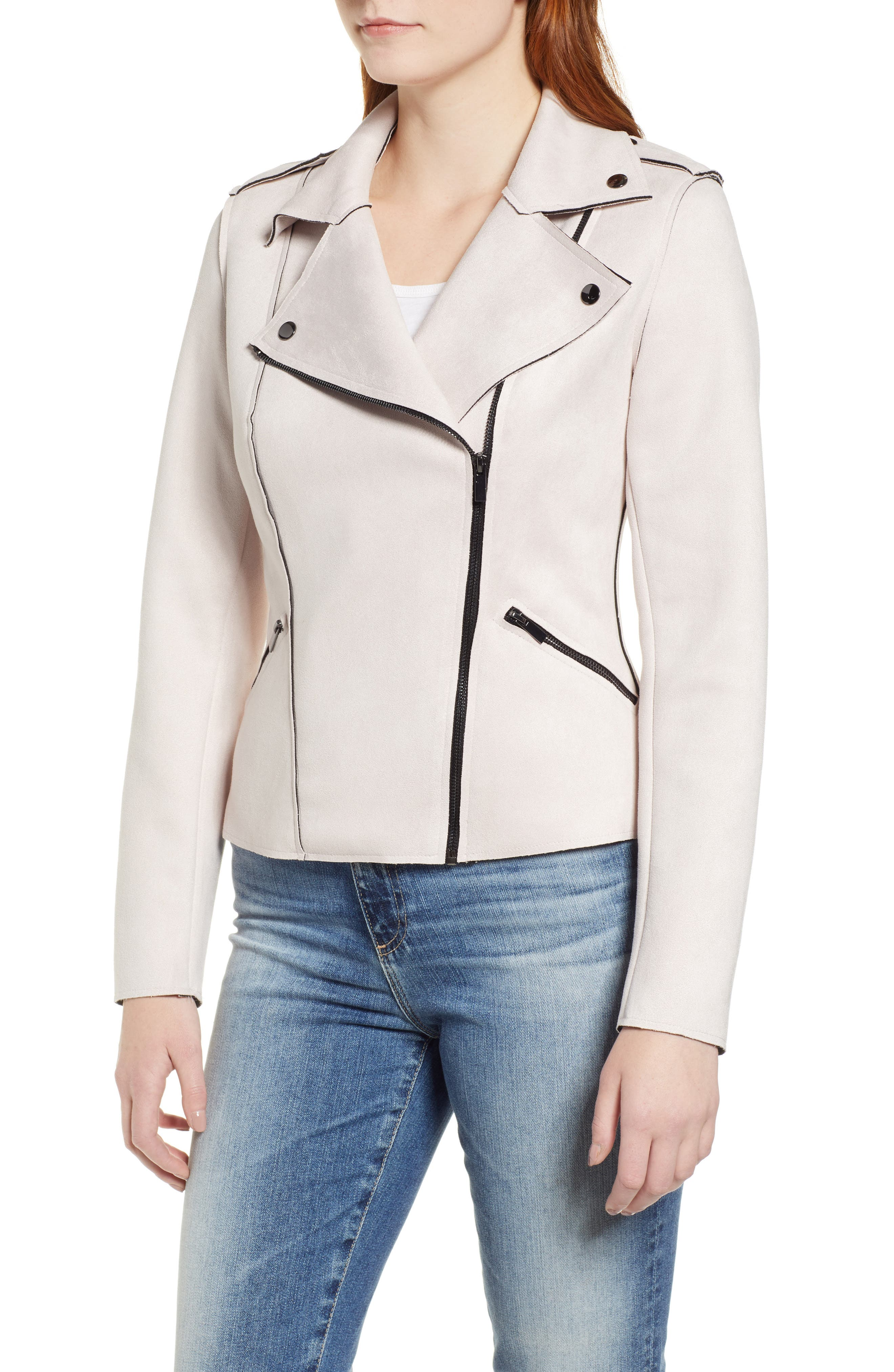KUT FROM THE KLOTH,                             Haddie Faux Suede Moto Jacket,                             Alternate thumbnail 4, color,                             PALE BLUSH