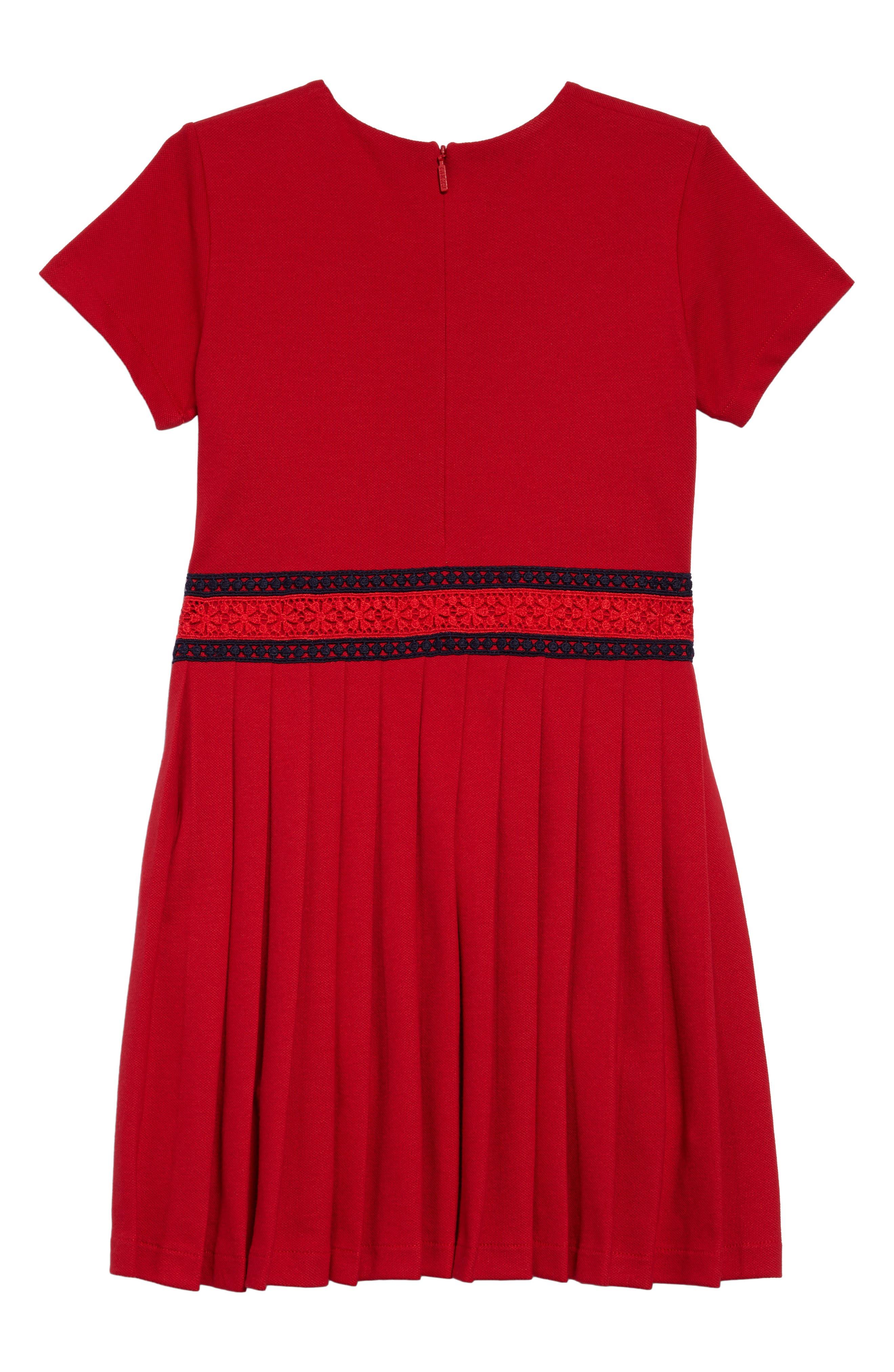 Piqué Cotton Pleat Dress,                             Alternate thumbnail 2, color,                             CERESE/ NERO