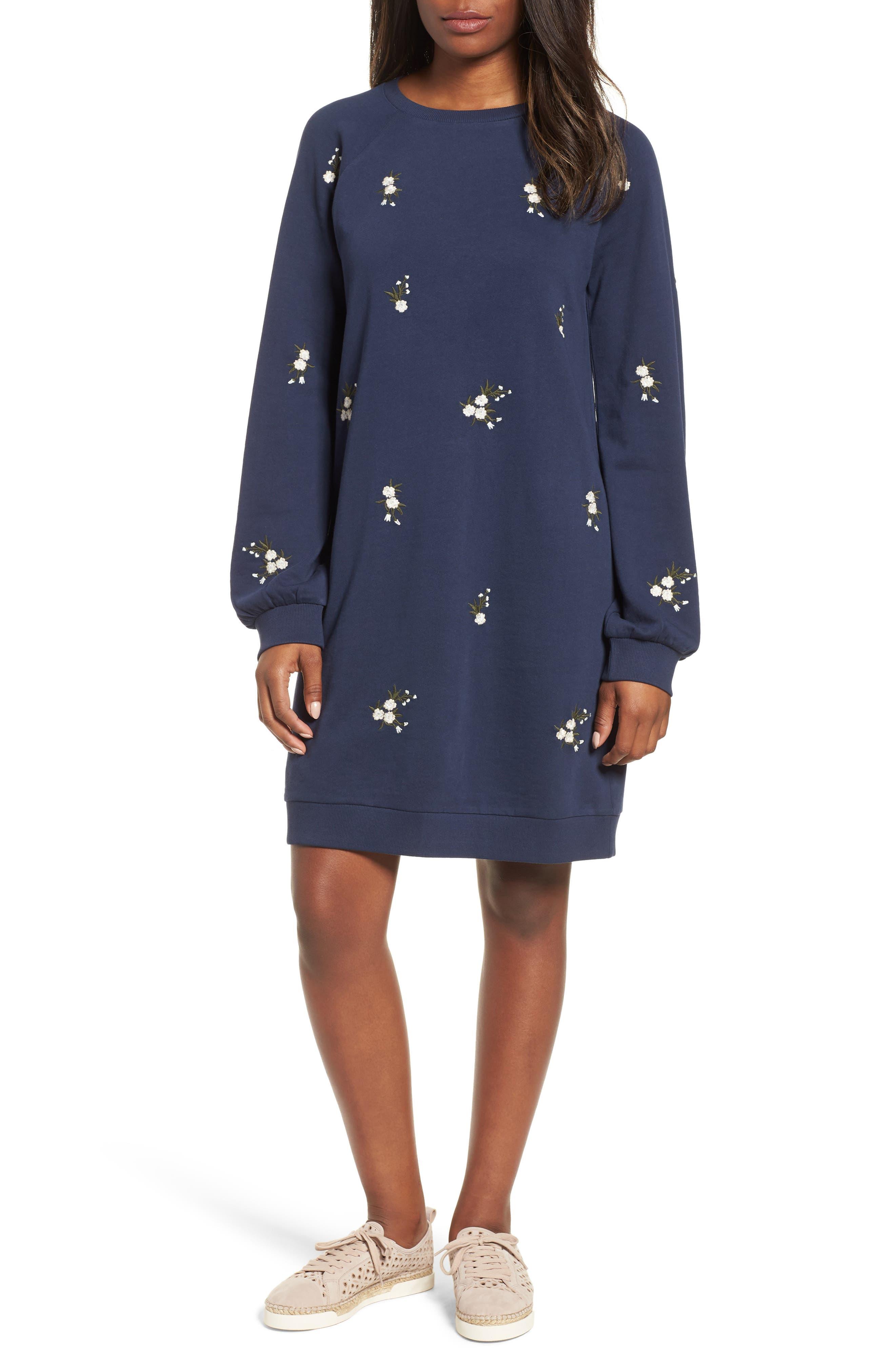 Embroidered Sweatshirt Dress,                         Main,                         color, NAVY INDIGO GAYLE EMB