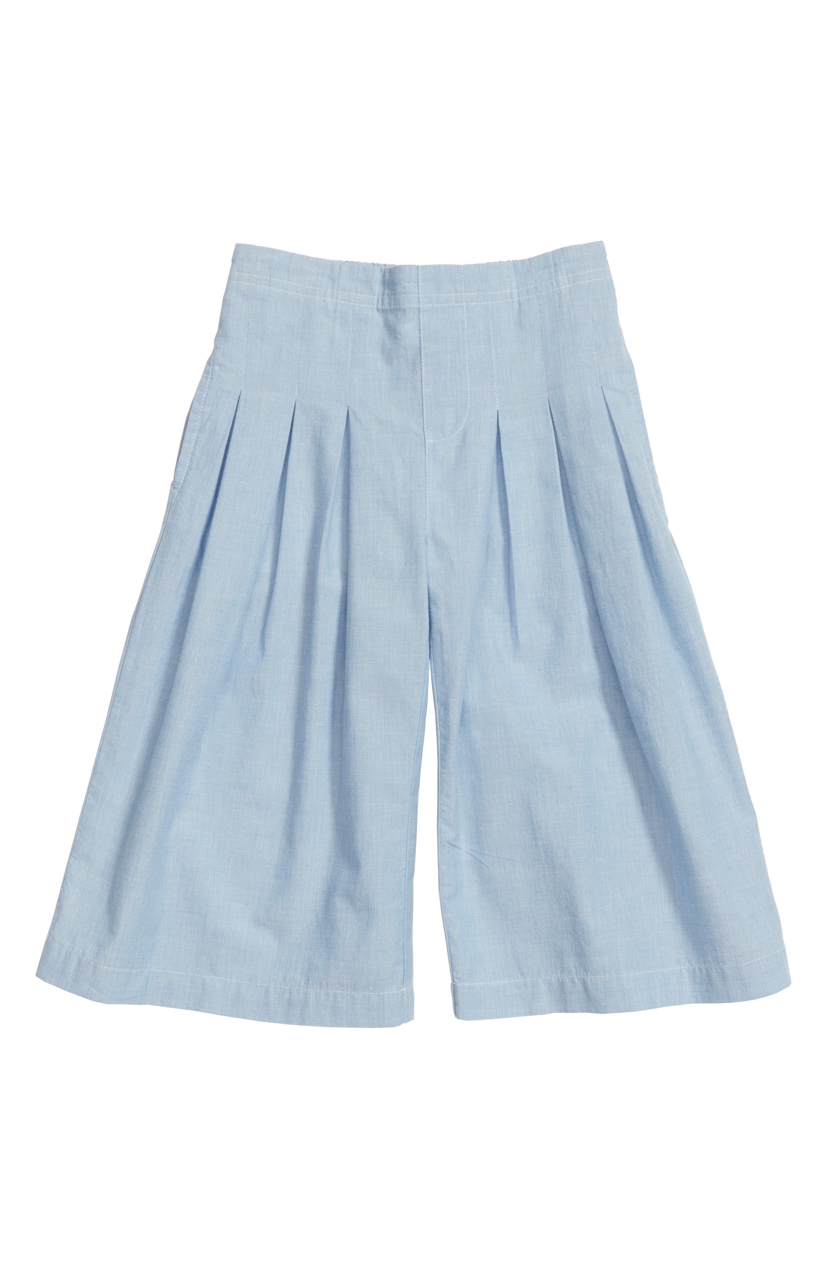 Pleated Chambray Gaucho Pants,                         Main,                         color,