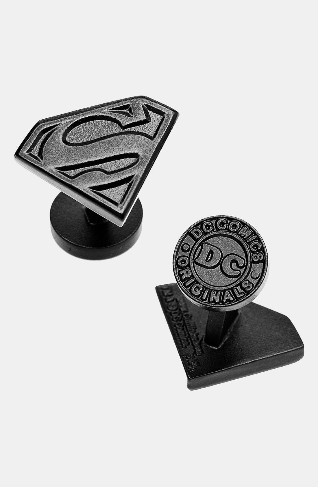 'Superman Shield' Cuff Links,                             Main thumbnail 1, color,                             BLACK