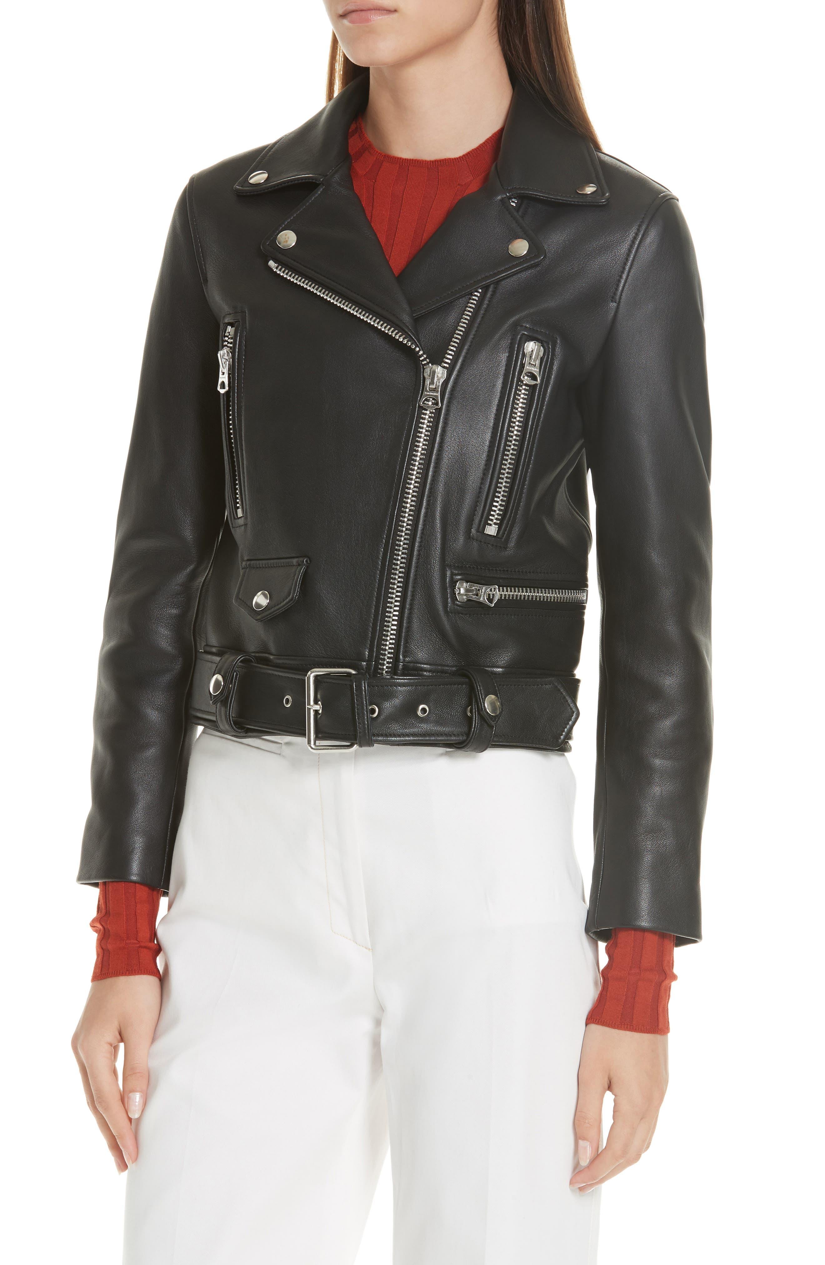 Mock Core Leather Moto Jacket,                             Alternate thumbnail 4, color,                             BLACK