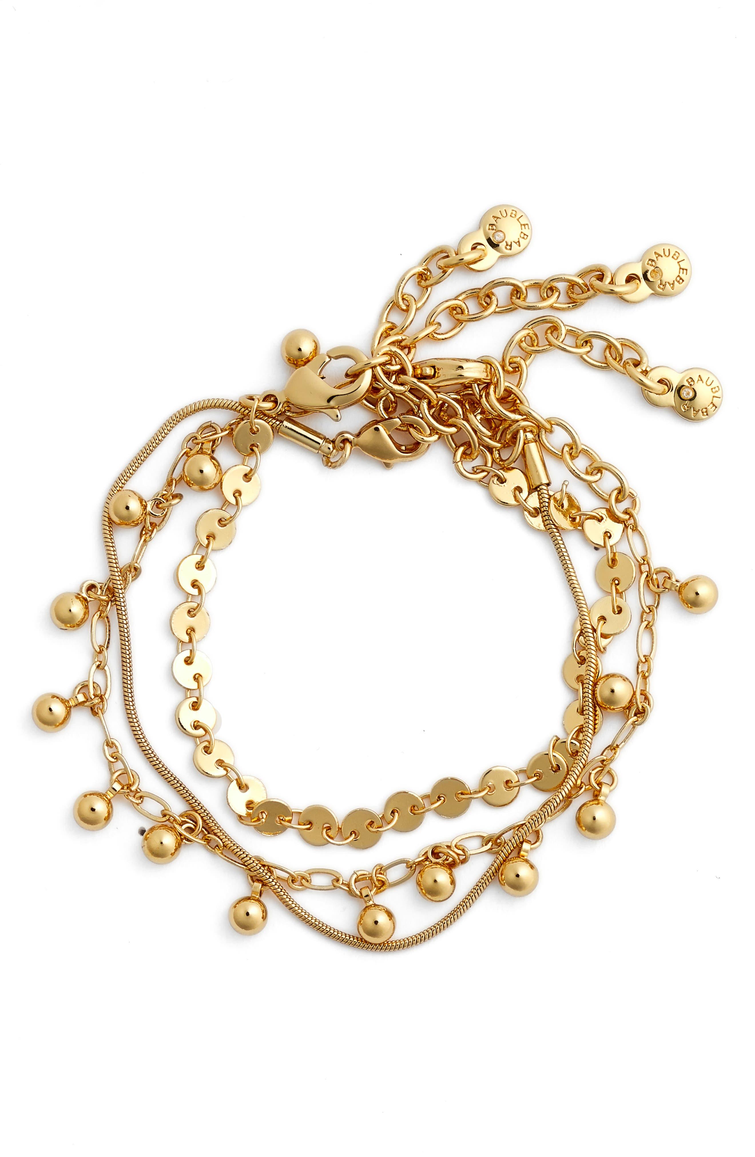 Asteria Set of 3 Bracelets,                         Main,                         color, GOLD