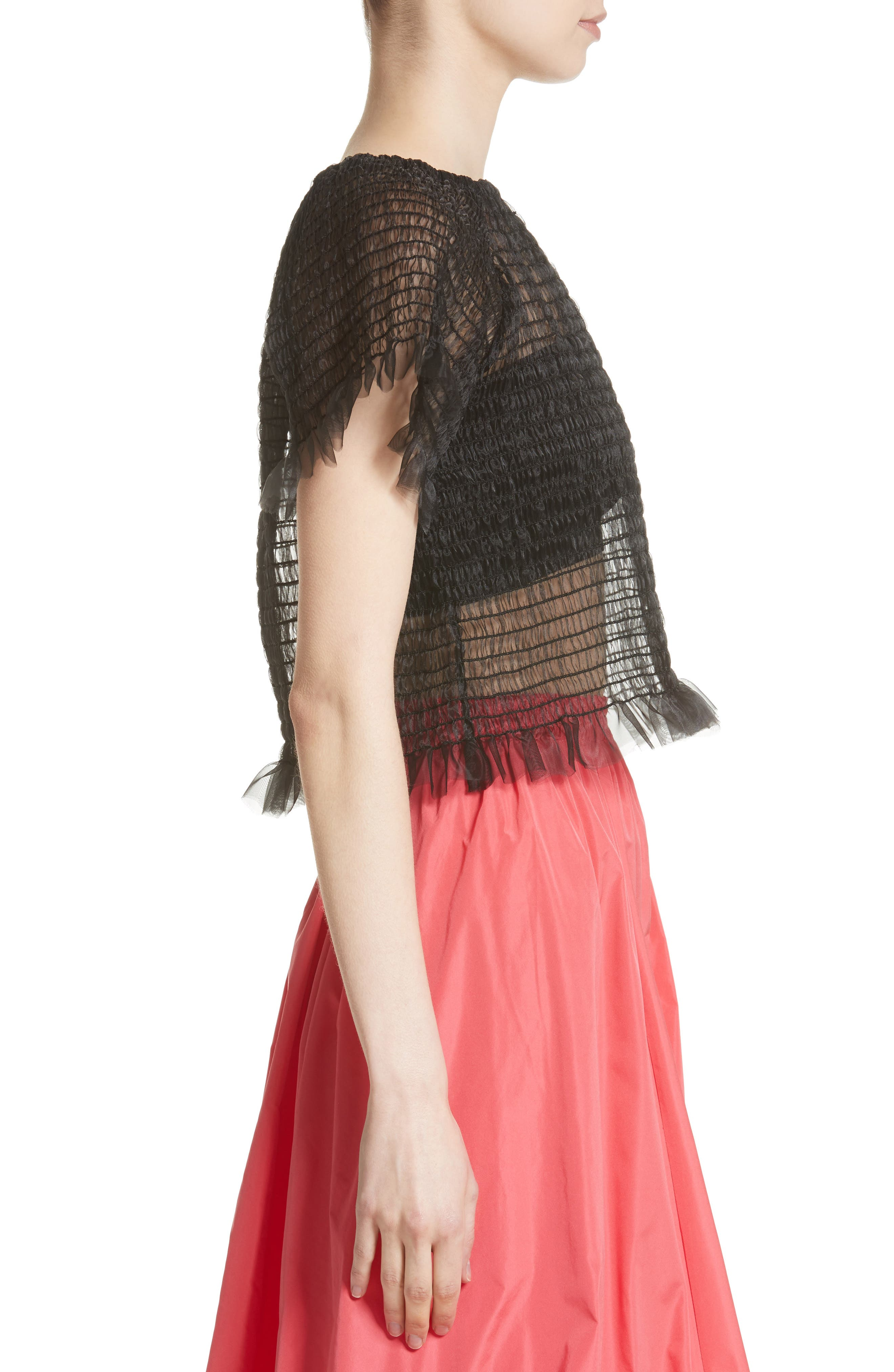 Blonde Tulle Top,                             Alternate thumbnail 3, color,                             001