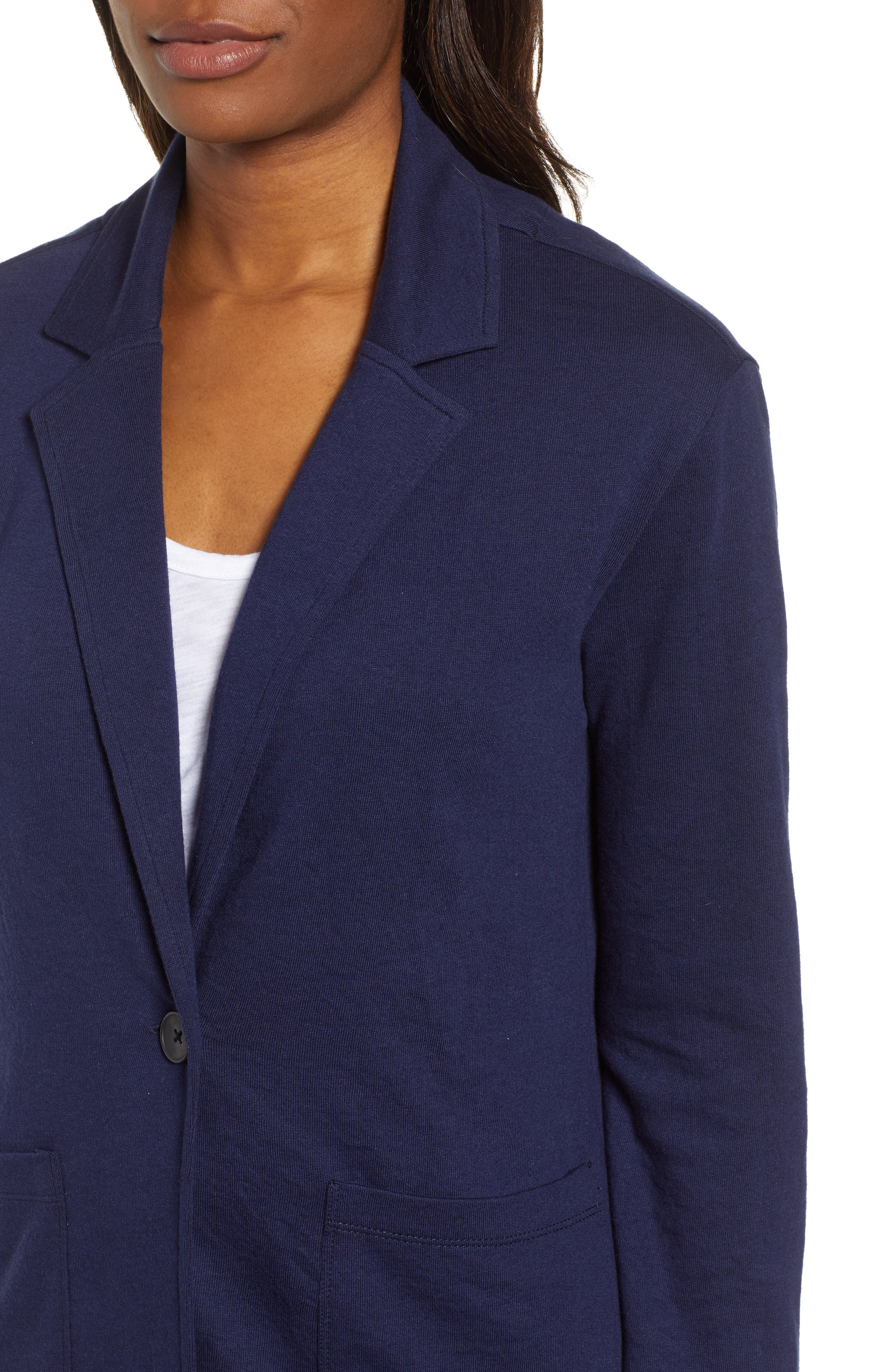 CASLON<SUP>®</SUP>,                             Two Pocket Knit Blazer,                             Alternate thumbnail 4, color,                             NAVY PEACOAT