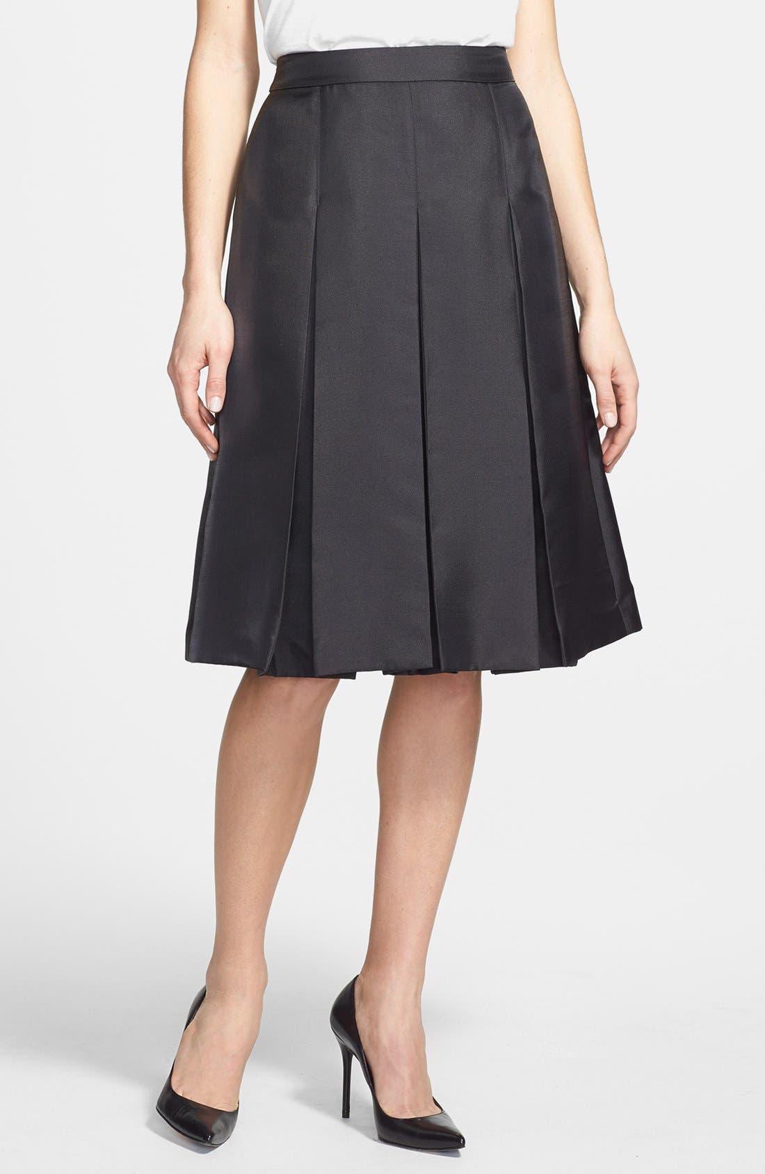 Pleat Midi Skirt,                         Main,                         color, 001
