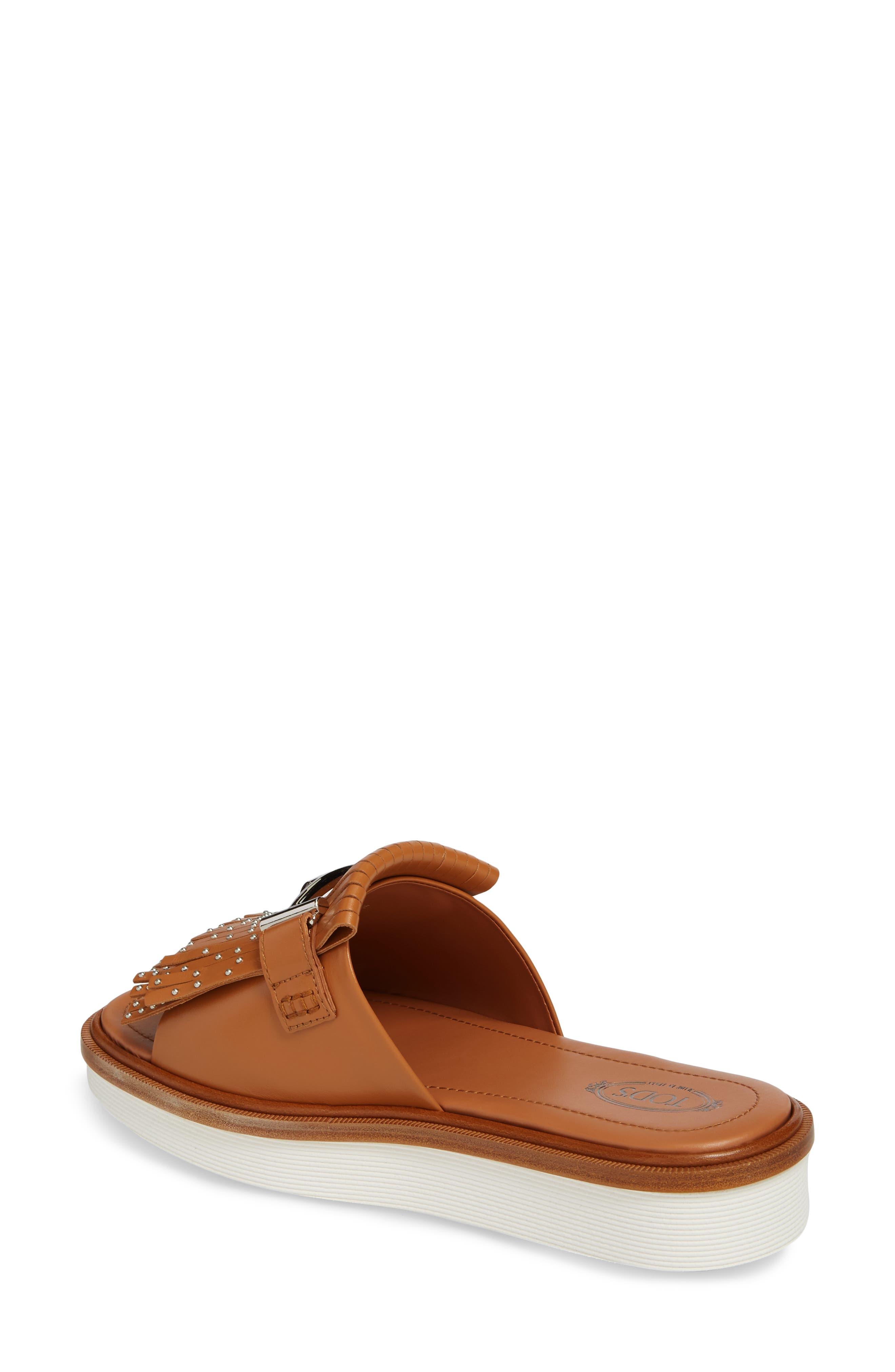Studded Fringe Slide Sandal,                             Alternate thumbnail 6, color,