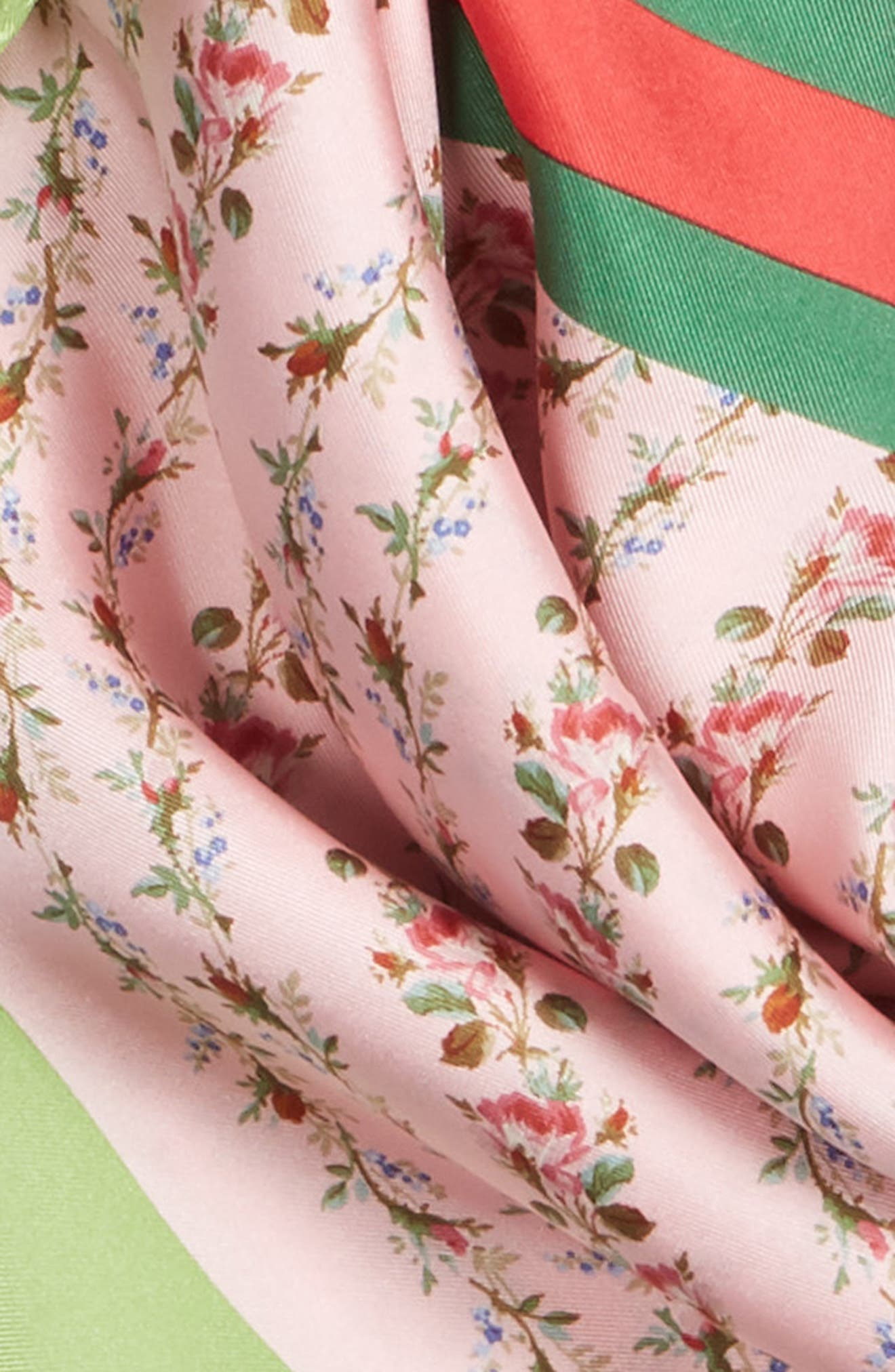 Vintage Rose Foulard Silk Scarf,                             Alternate thumbnail 4, color,                             ROSETE/ LIGHT GREEN