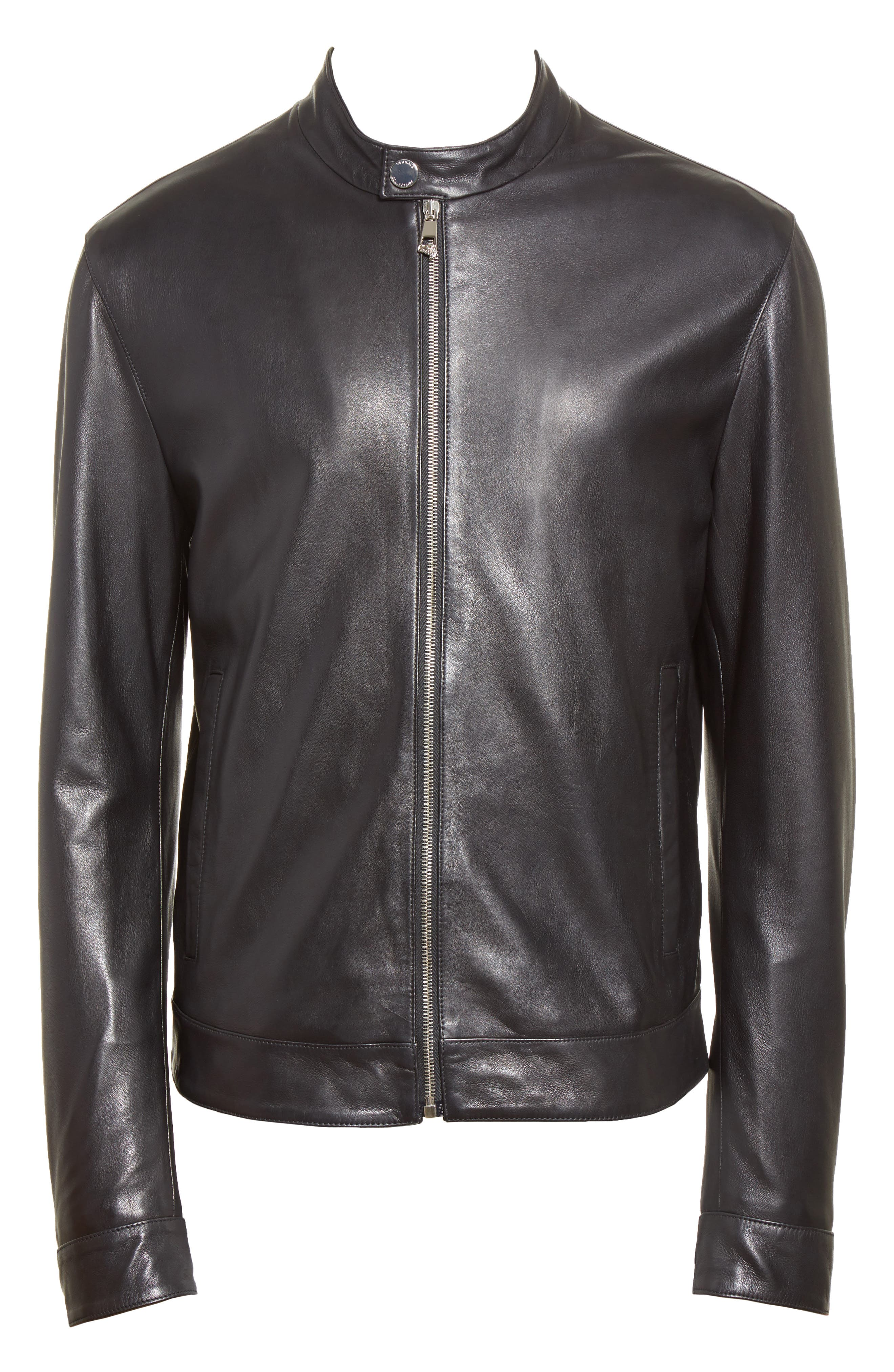 Band Collar Leather Jacket,                             Alternate thumbnail 5, color,                             130