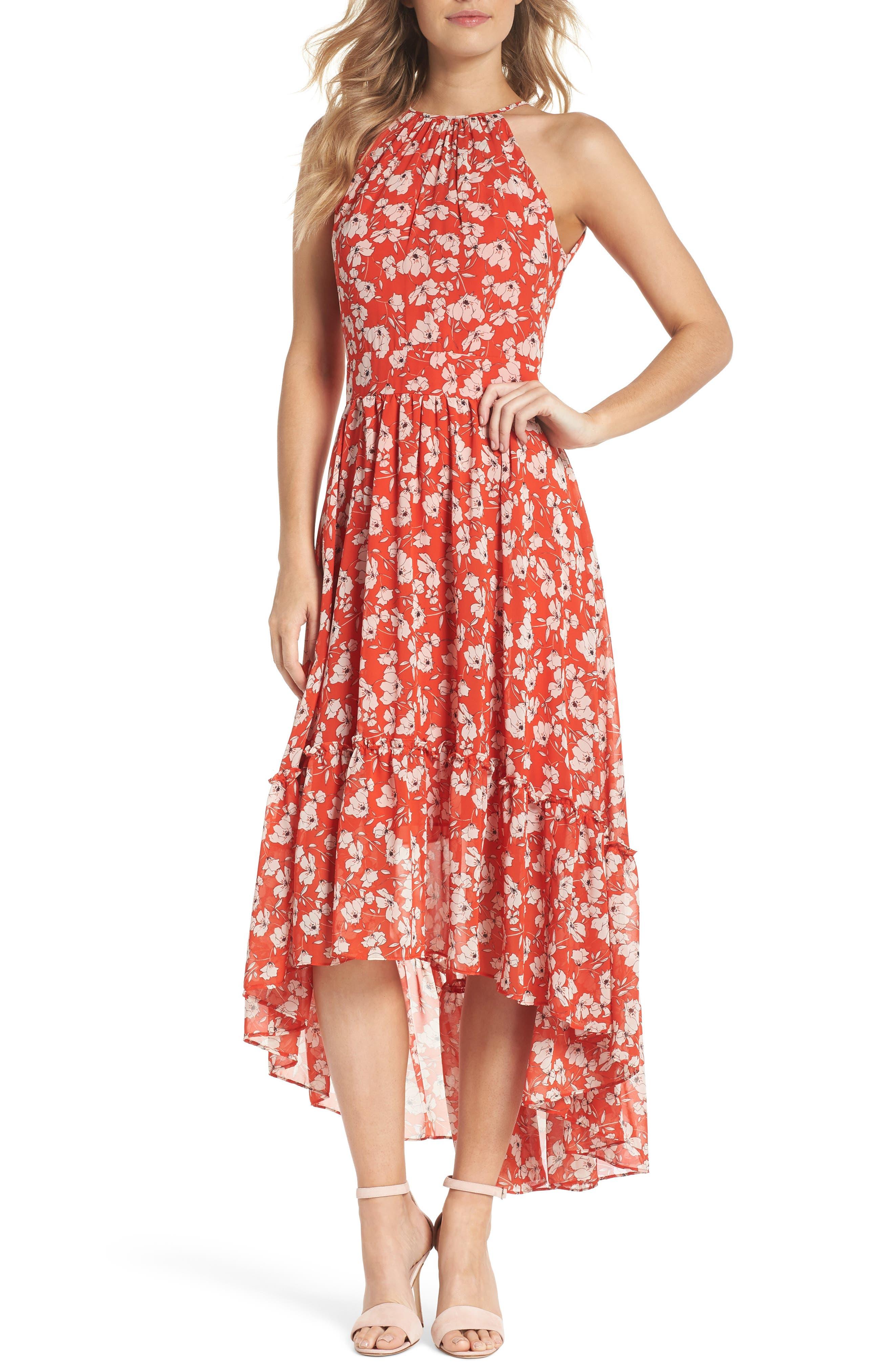Ruffle Hem Halter Neck Chiffon Dress,                             Main thumbnail 1, color,                             612