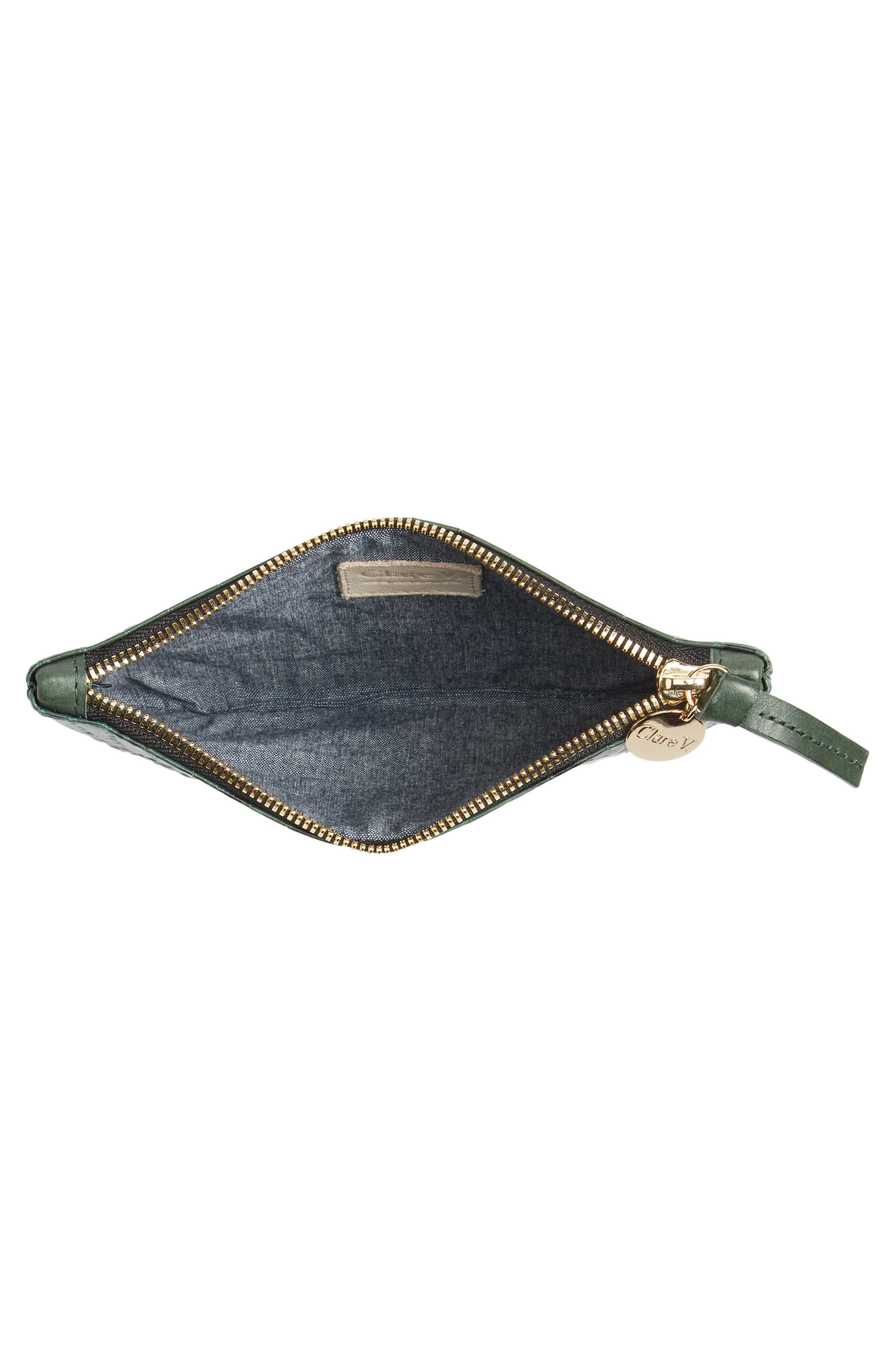 Croc Embossed Leather Clutch,                             Alternate thumbnail 4, color,                             300