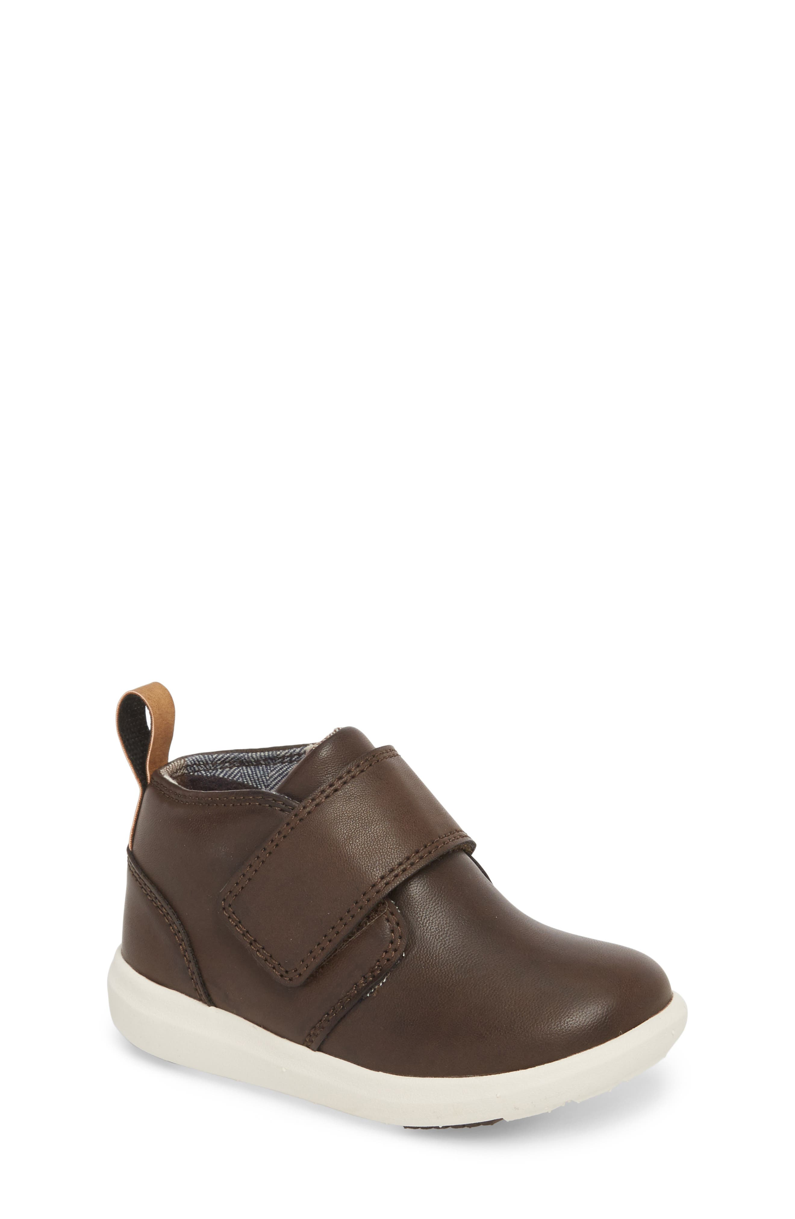 Oliver Low Bootie Sneaker,                             Main thumbnail 1, color,                             CHOCOLATE FAUX LEATHER