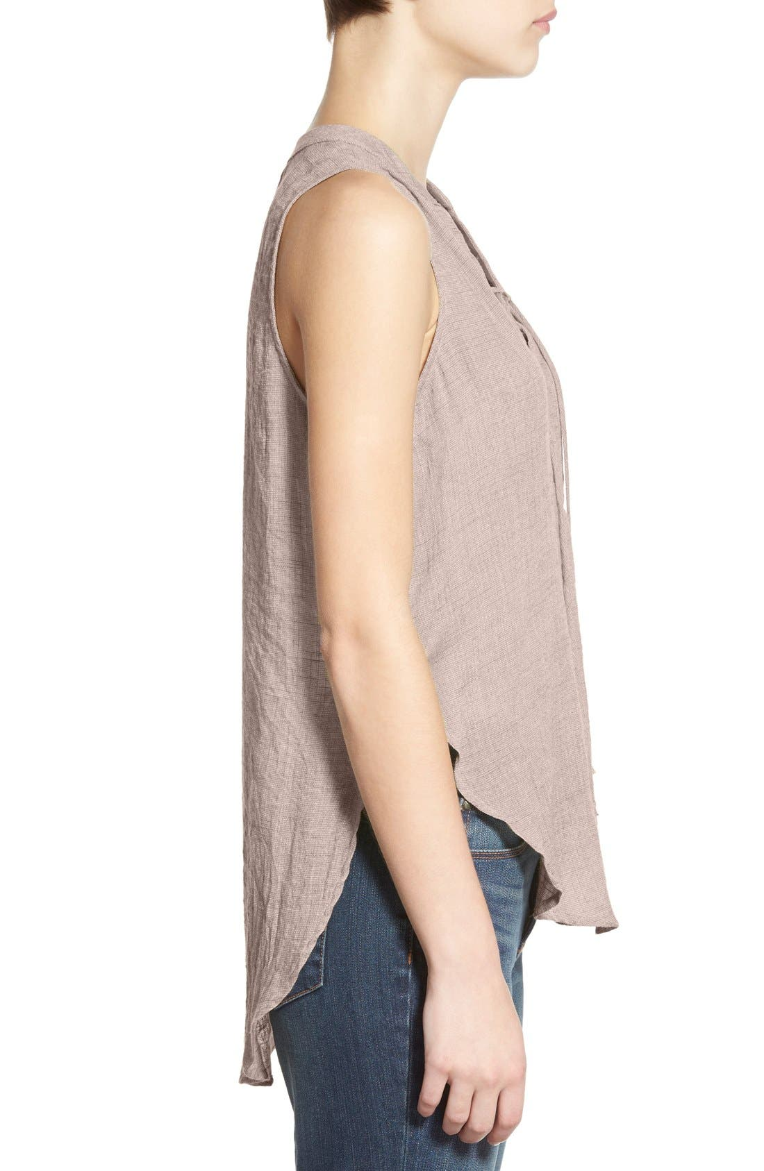 ---,                             Lace-Up Sleeveless Henley Top,                             Alternate thumbnail 4, color,                             020